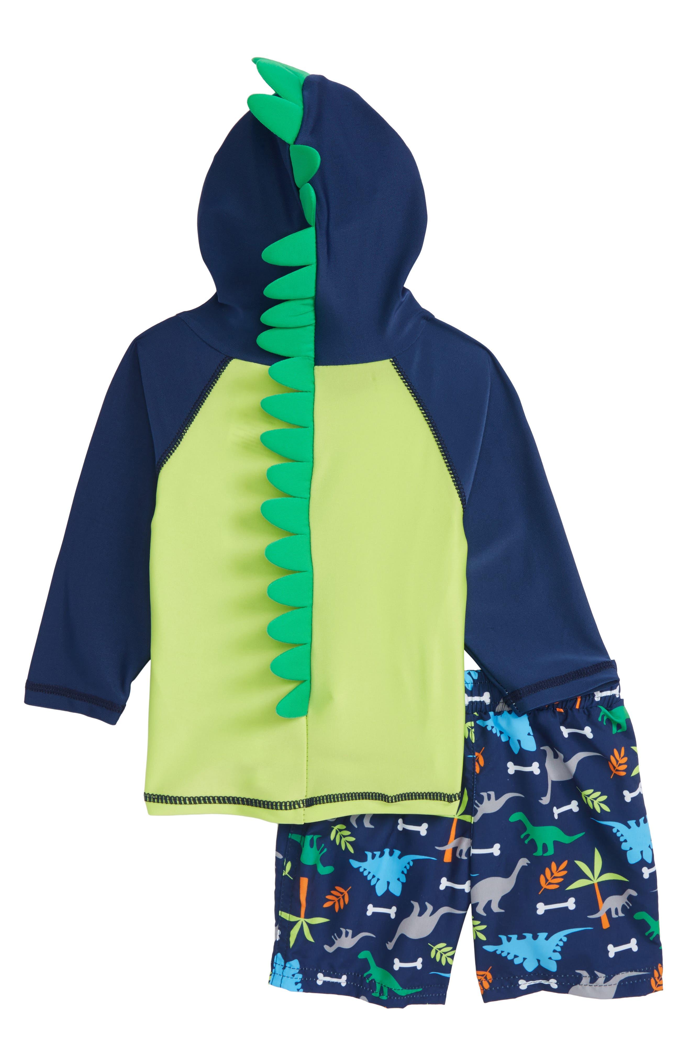 Little Dino Hooded Rashguard & Board Shorts Set,                             Alternate thumbnail 2, color,                             Navy