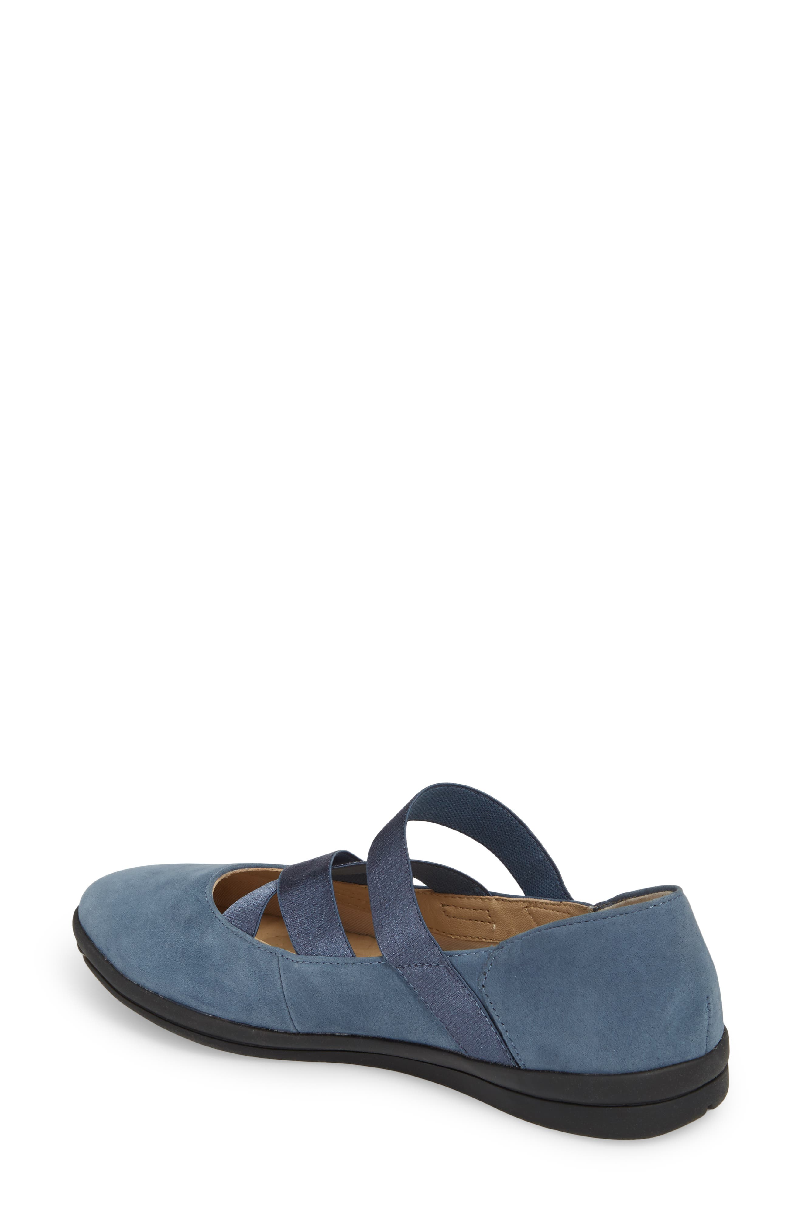 Meree Madrine Cross Strap Flat,                             Alternate thumbnail 2, color,                             Vintage Indigo Nubuck Leather