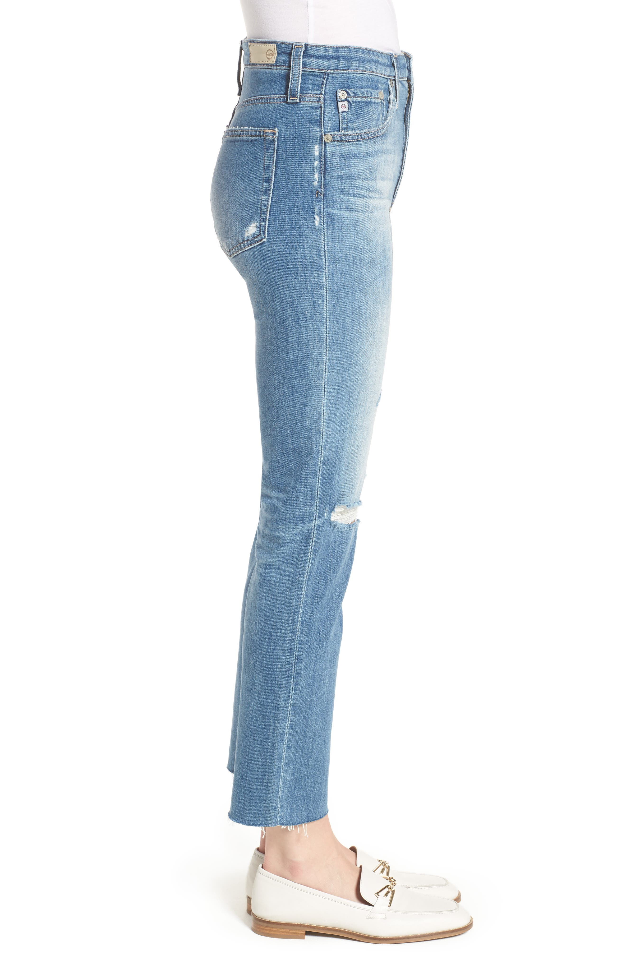The Isabelle High Waist Crop Straight Leg Jeans,                             Alternate thumbnail 3, color,                             13 Years-Saltwater
