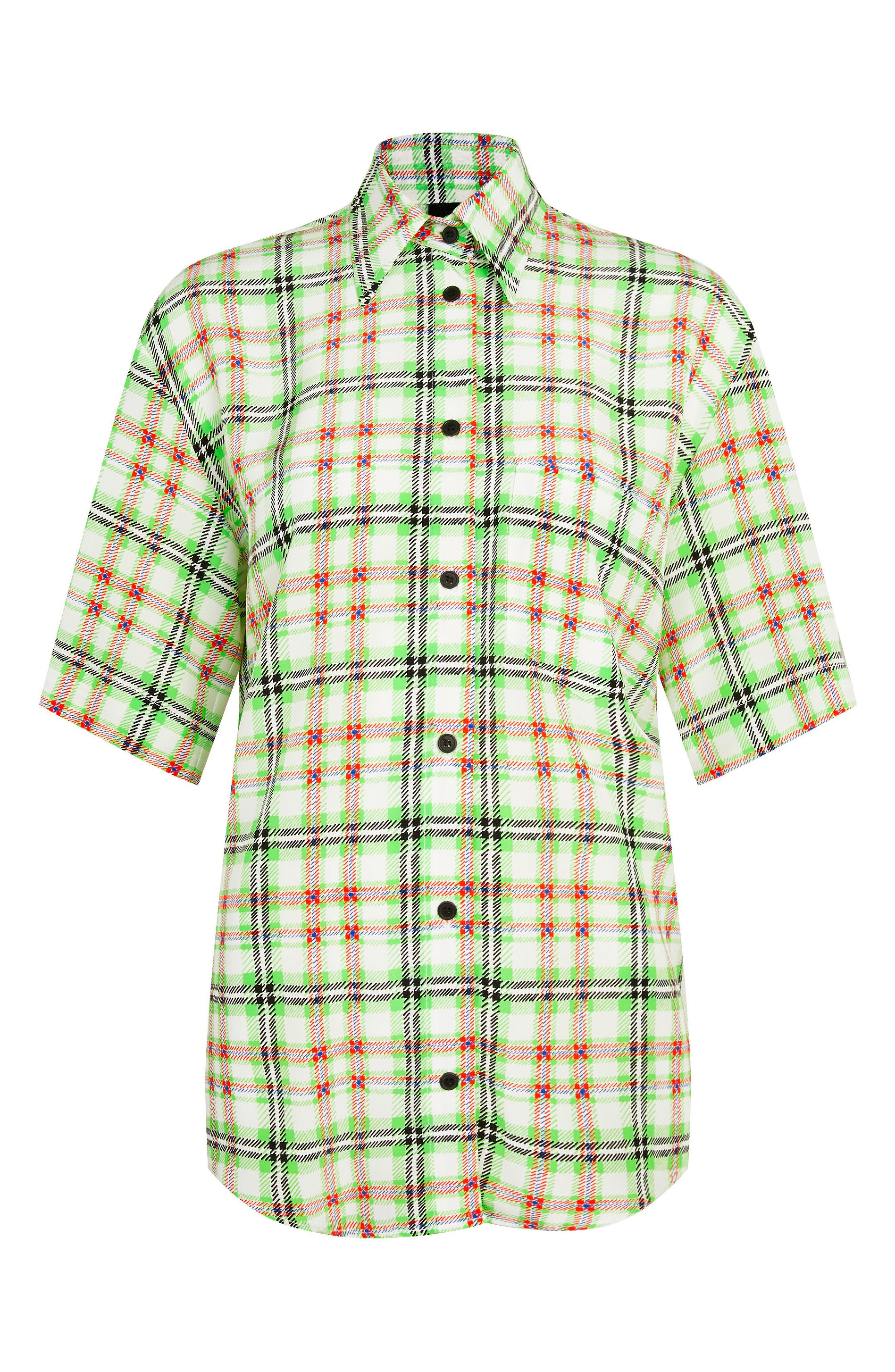 Silk Bowling Shirt,                         Main,                         color, Green Multi