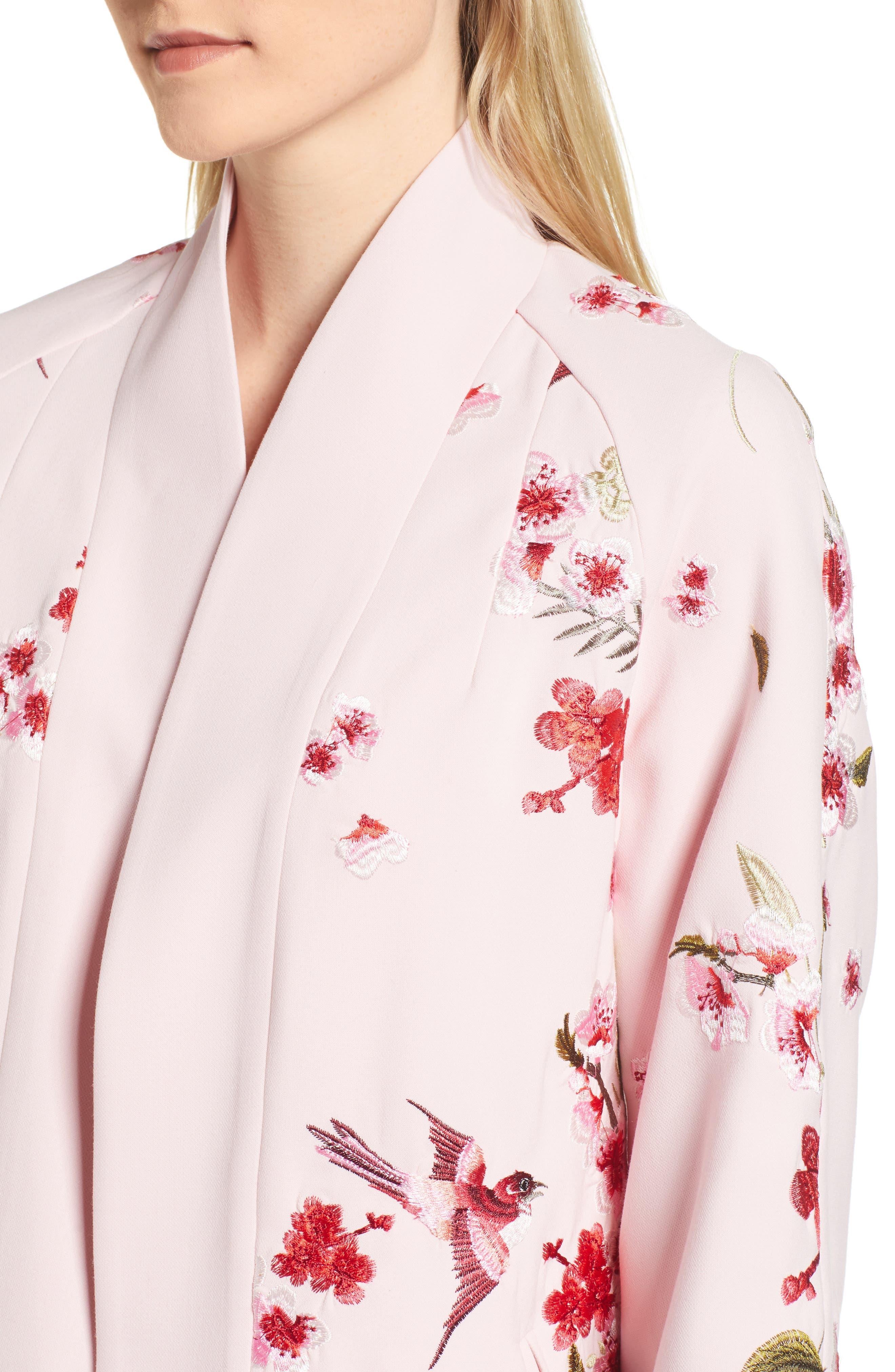 Bird & Blossom Spring Kimono,                             Alternate thumbnail 4, color,                             Baby Pink