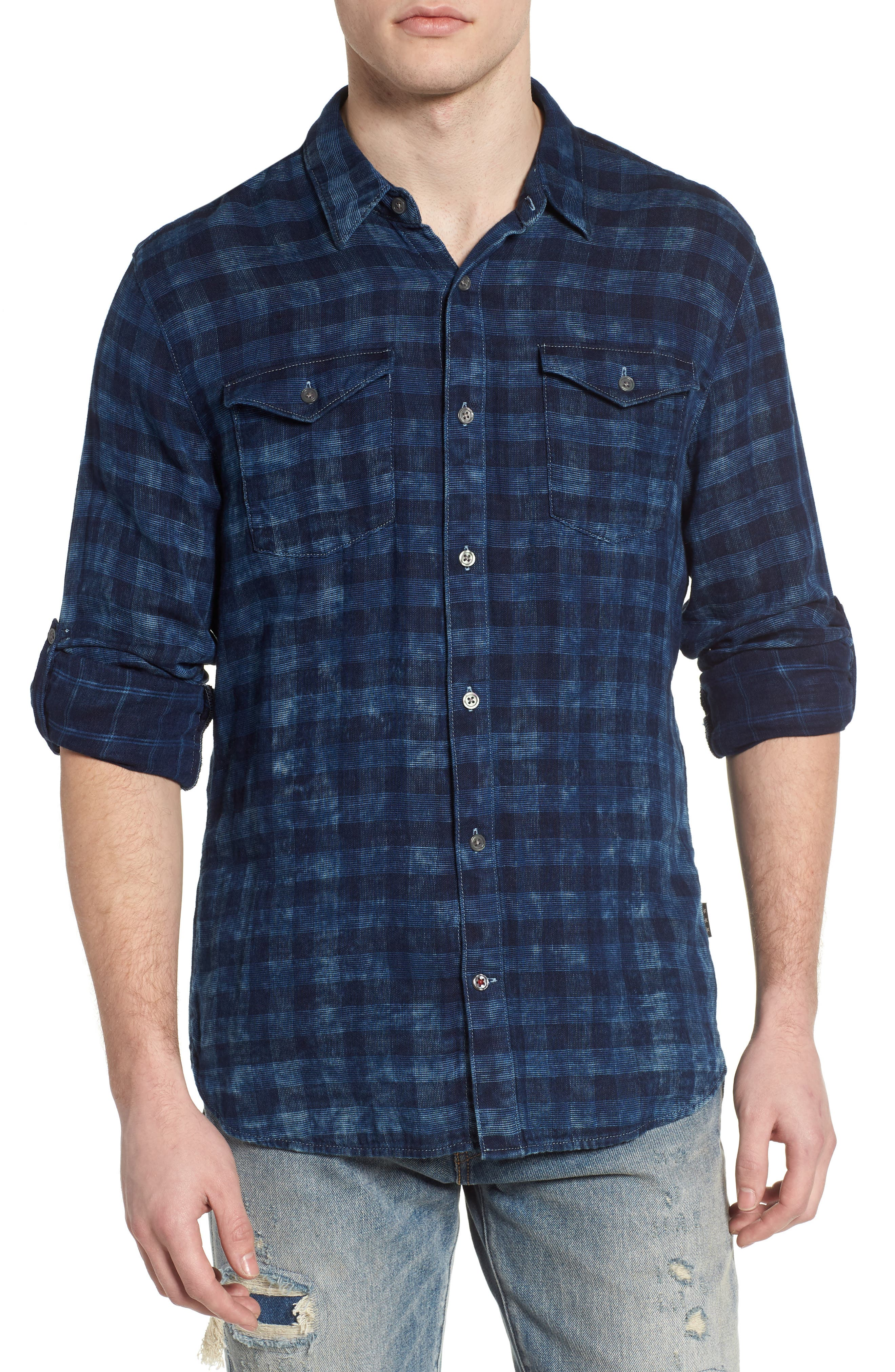 John Varvatos Star USA Regular Fit Plaid Sport Shirt