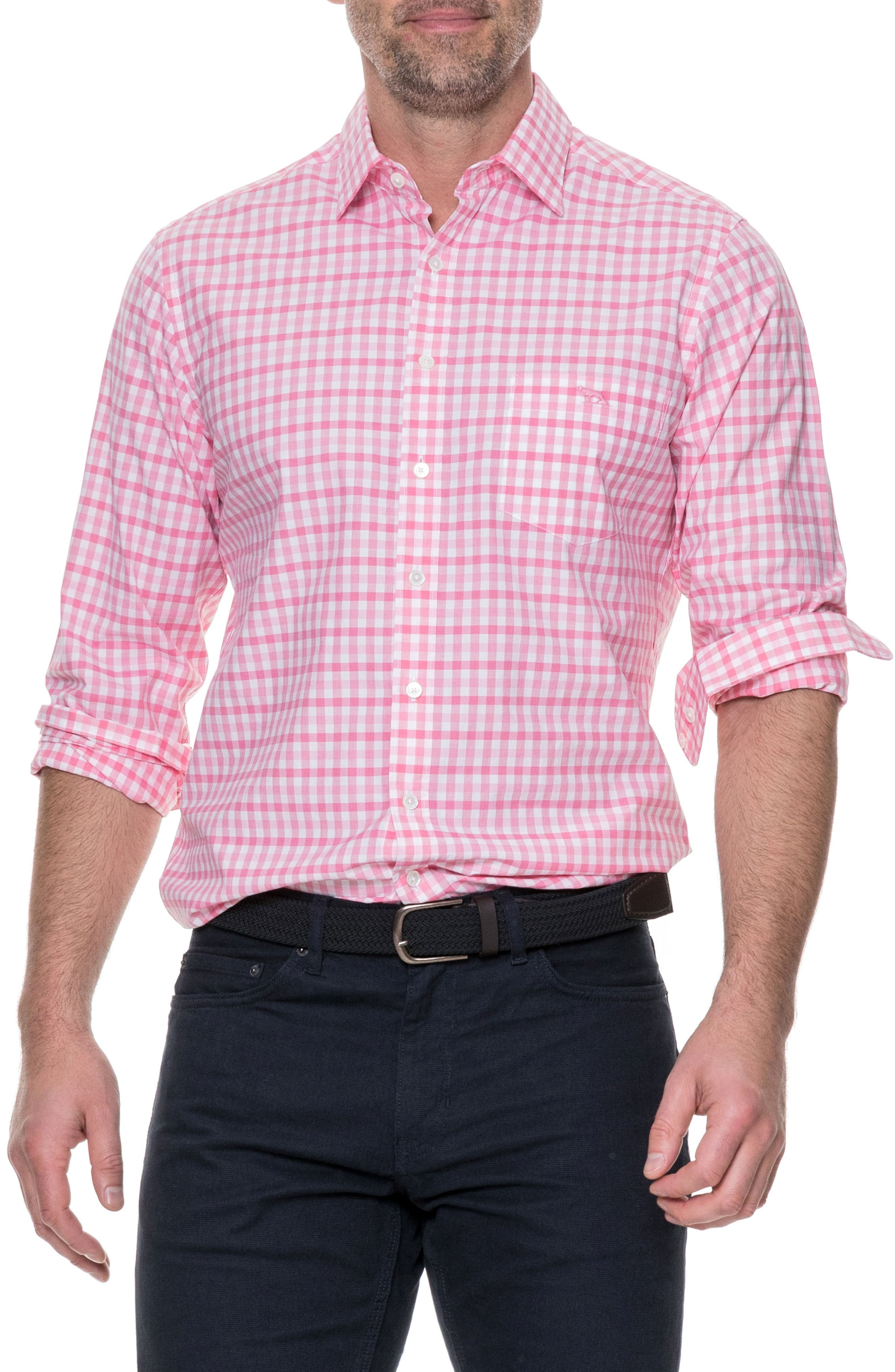 Shorecliffe Regular Fit Gingham Sport Shirt,                             Main thumbnail 1, color,                             Fuchsia
