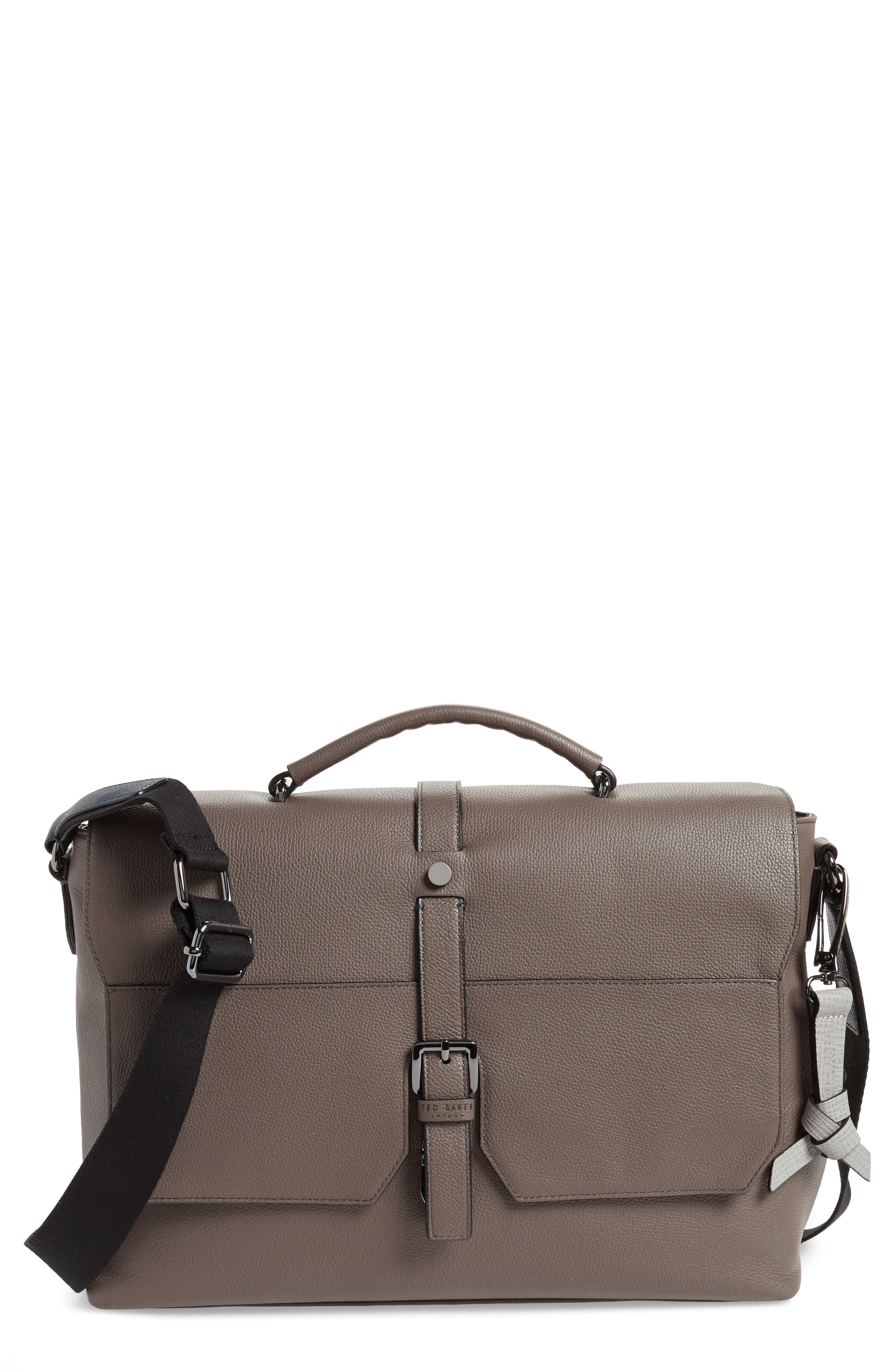 Ted Baker Sandune Leather Messenger Bag - Grey  9a0dca28016d6