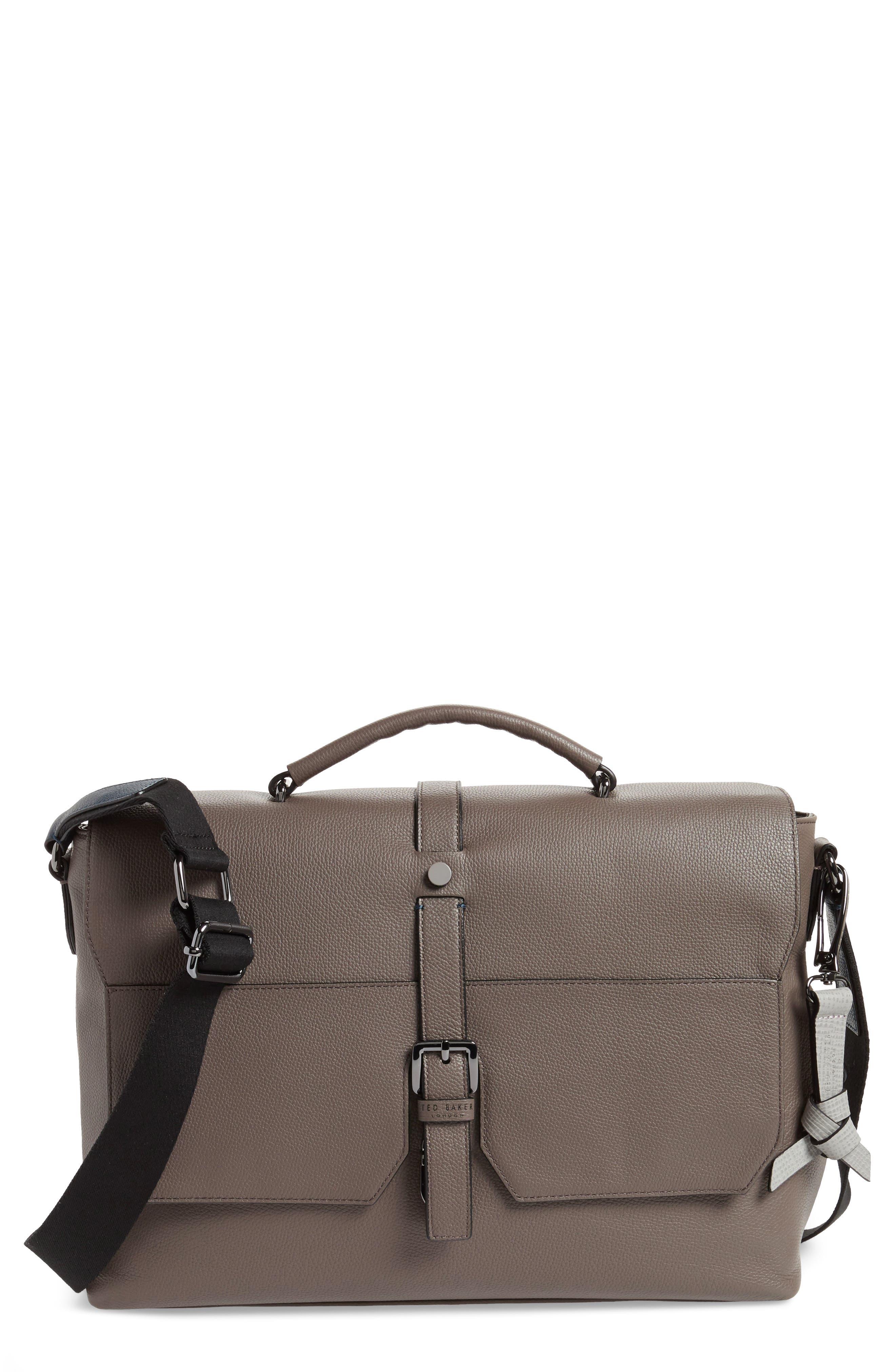 Ted Baker Sandune Leather Messenger Bag,                             Main thumbnail 1, color,                             Grey