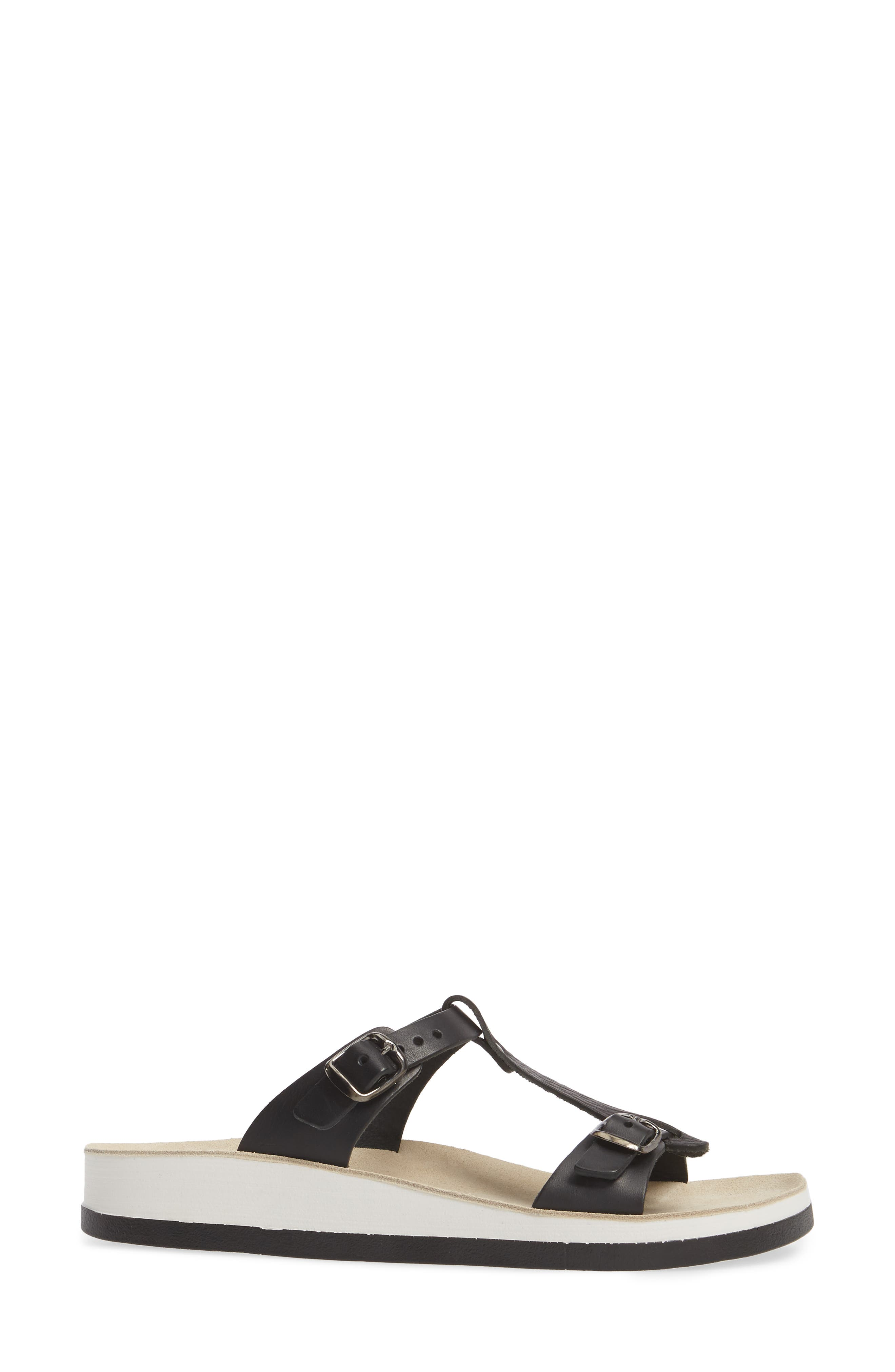 Jessamine T-Strap Sandal,                             Alternate thumbnail 3, color,                             Black Volcano Leather