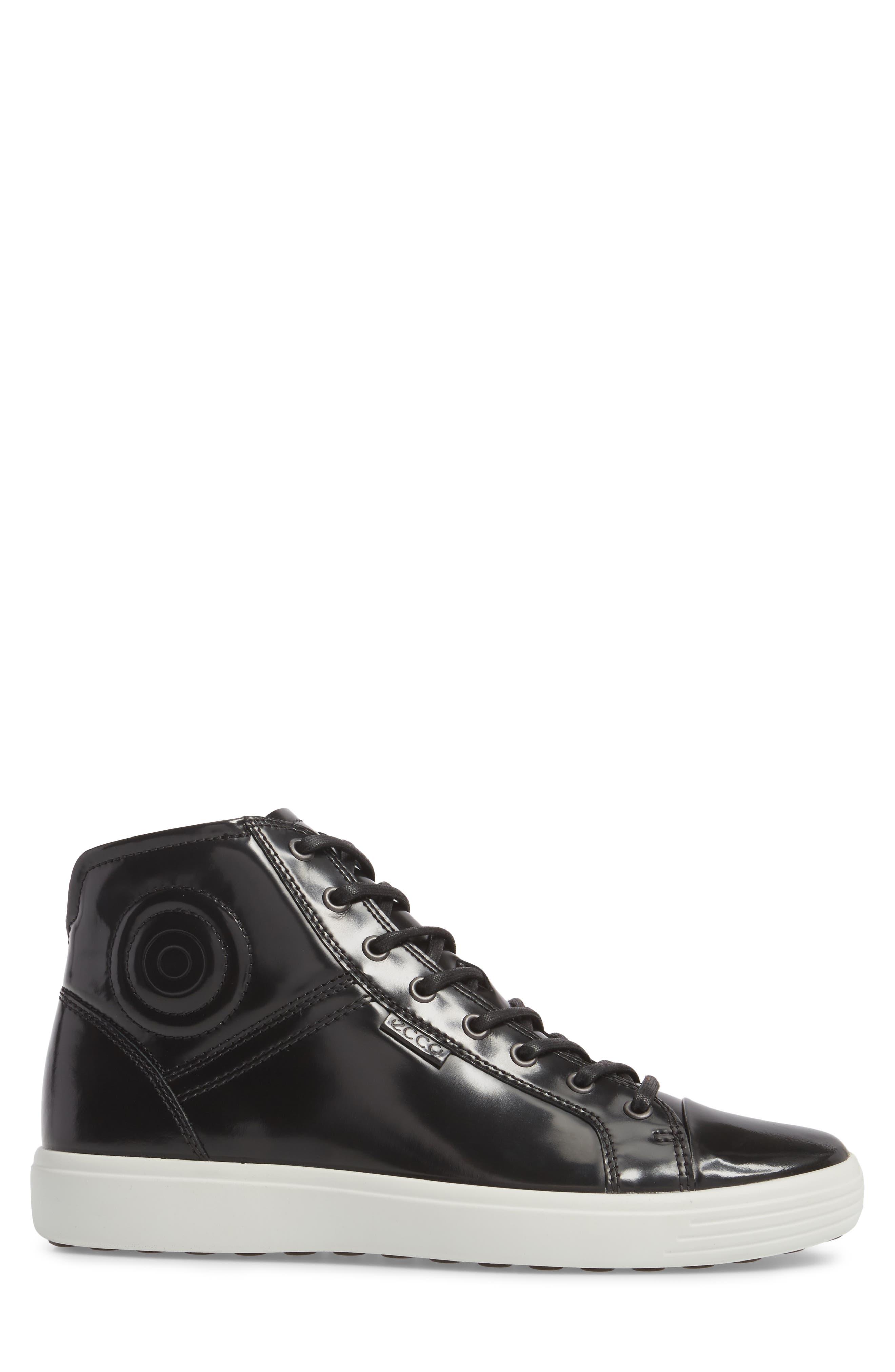 Soft 7 Premium High Top Sneaker,                             Alternate thumbnail 3, color,                             Black Leather