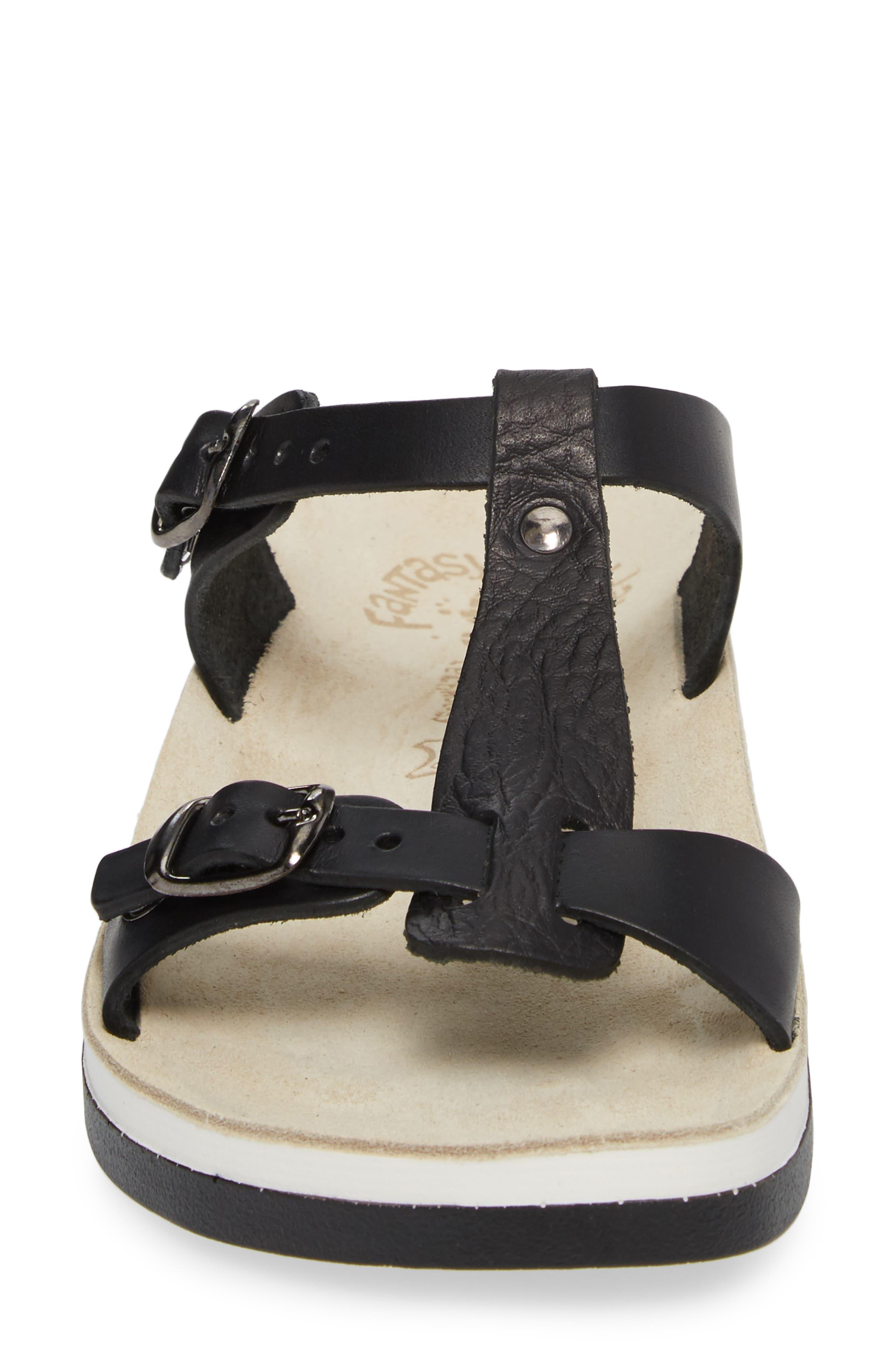Jessamine T-Strap Sandal,                             Alternate thumbnail 4, color,                             Black Volcano Leather