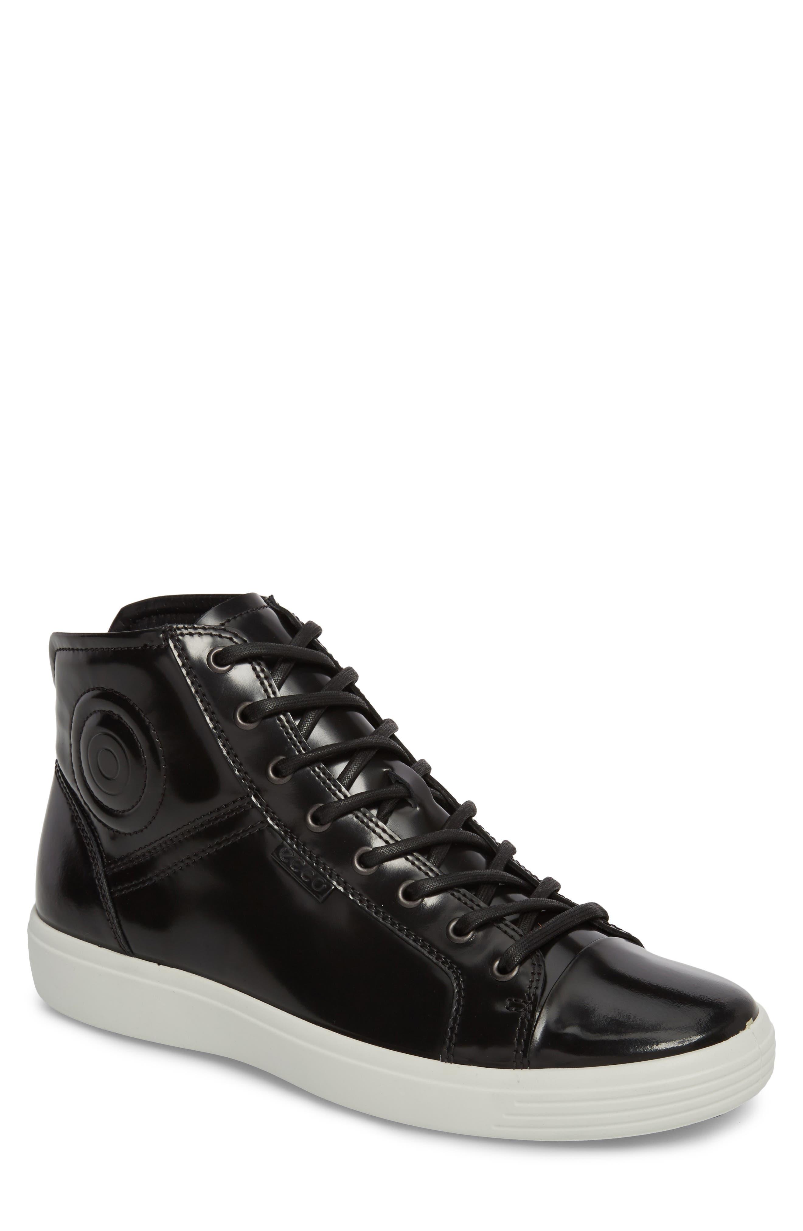 Soft 7 Premium High Top Sneaker,                             Main thumbnail 1, color,                             Black Leather
