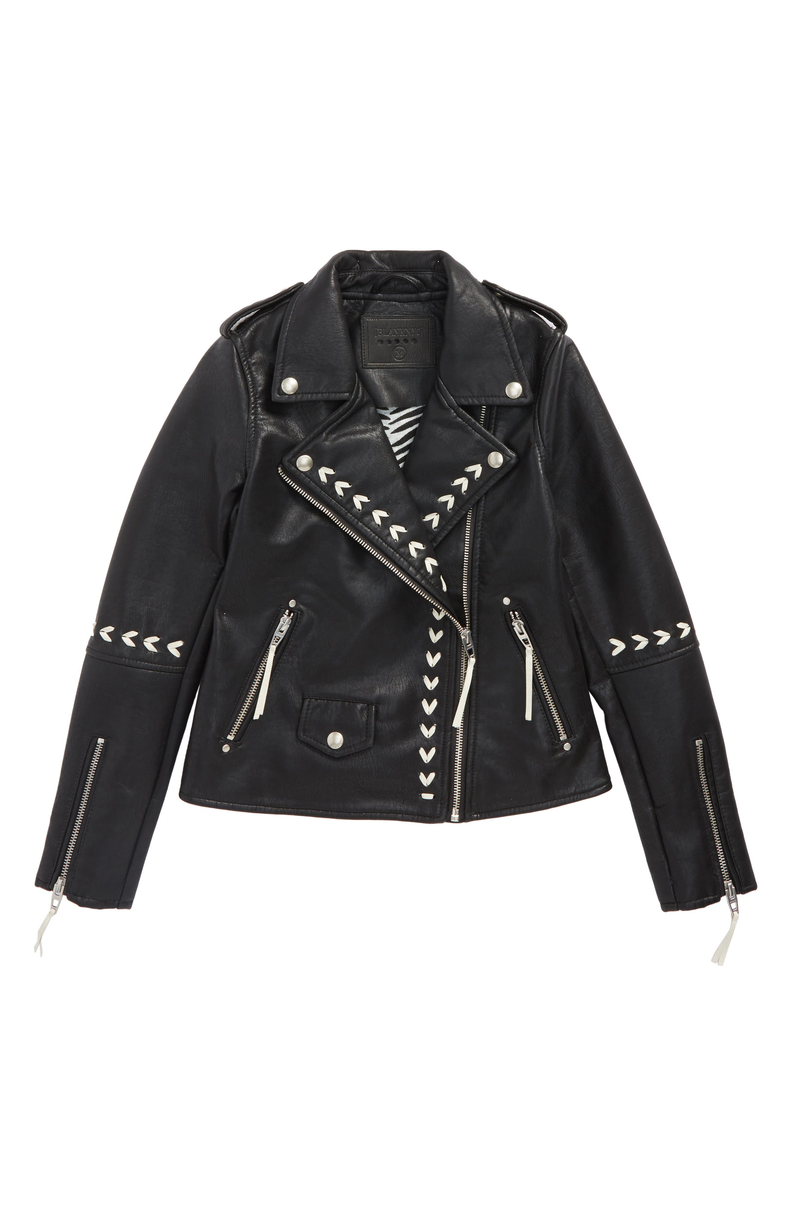 Faux Leather Moto Jacket,                         Main,                         color, Second Chances
