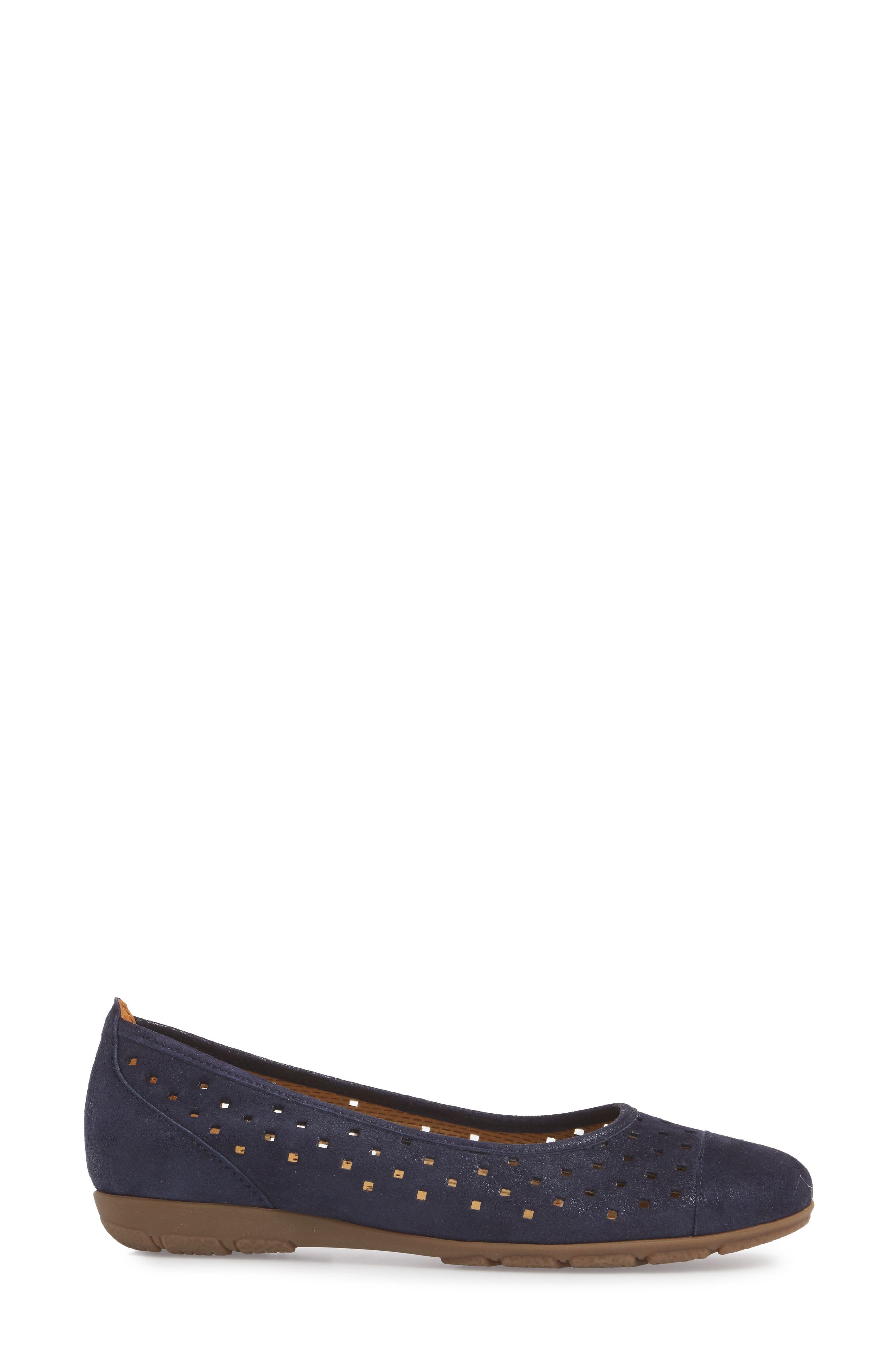 Perforated Ballet Flat,                             Alternate thumbnail 3, color,                             Blue Metallic Leather