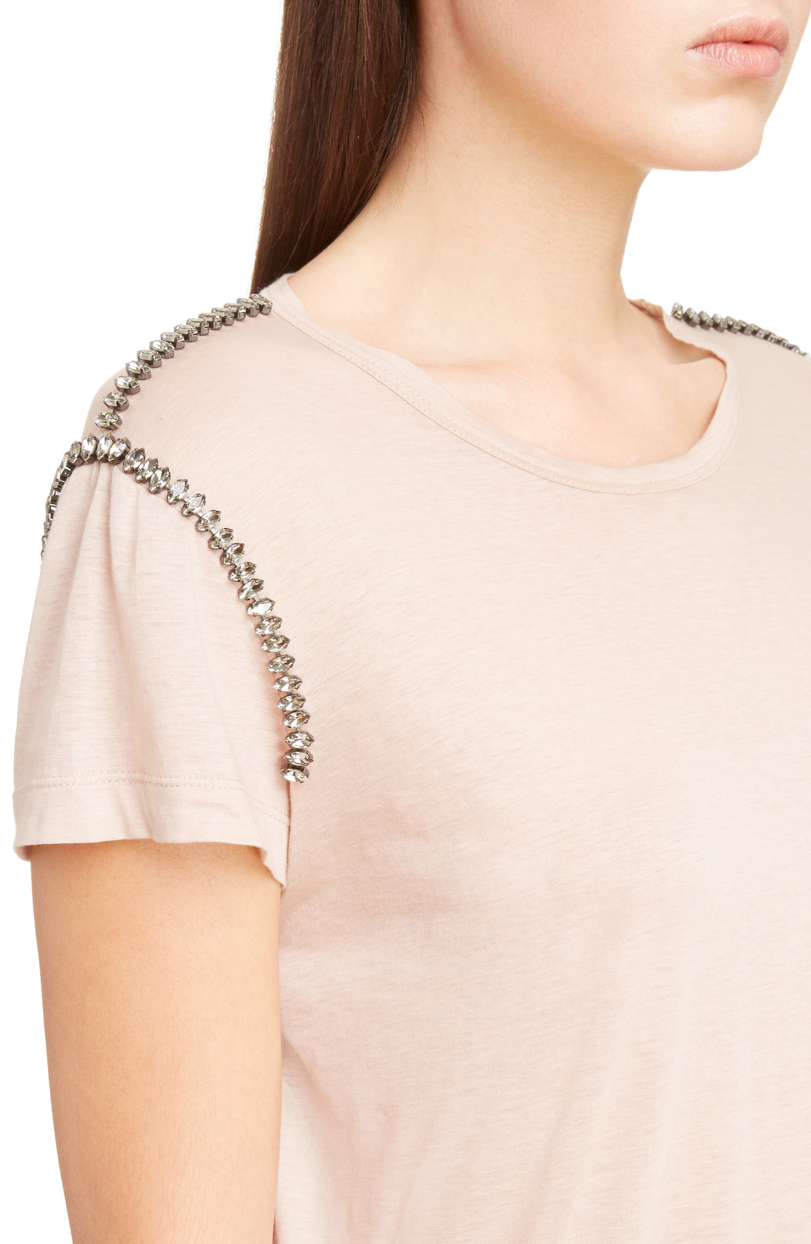 Crystal Embellished Tee,                             Alternate thumbnail 4, color,                             Cipria