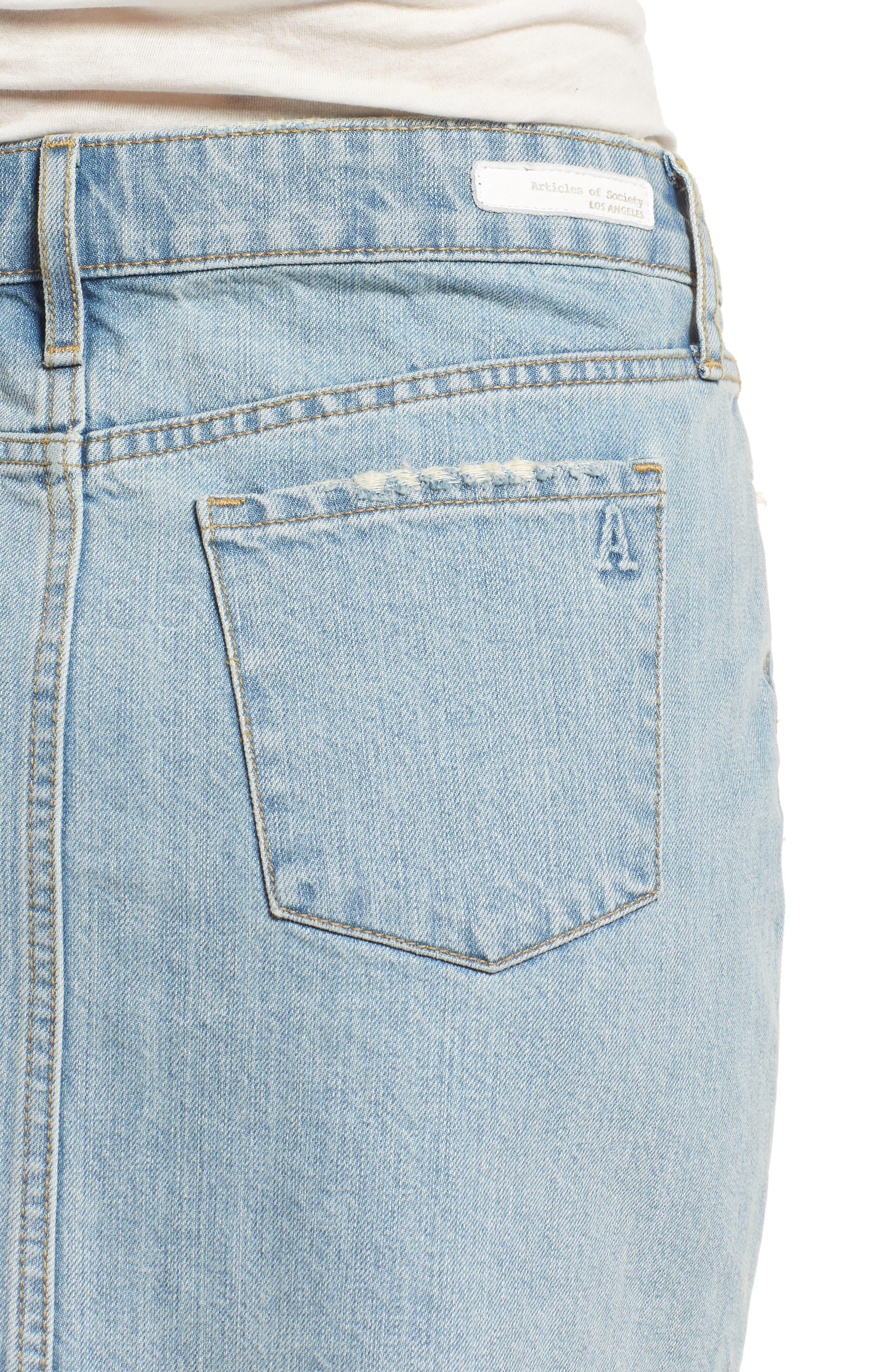 Stacy Release Hem Denim Skirt,                             Alternate thumbnail 4, color,                             Reims