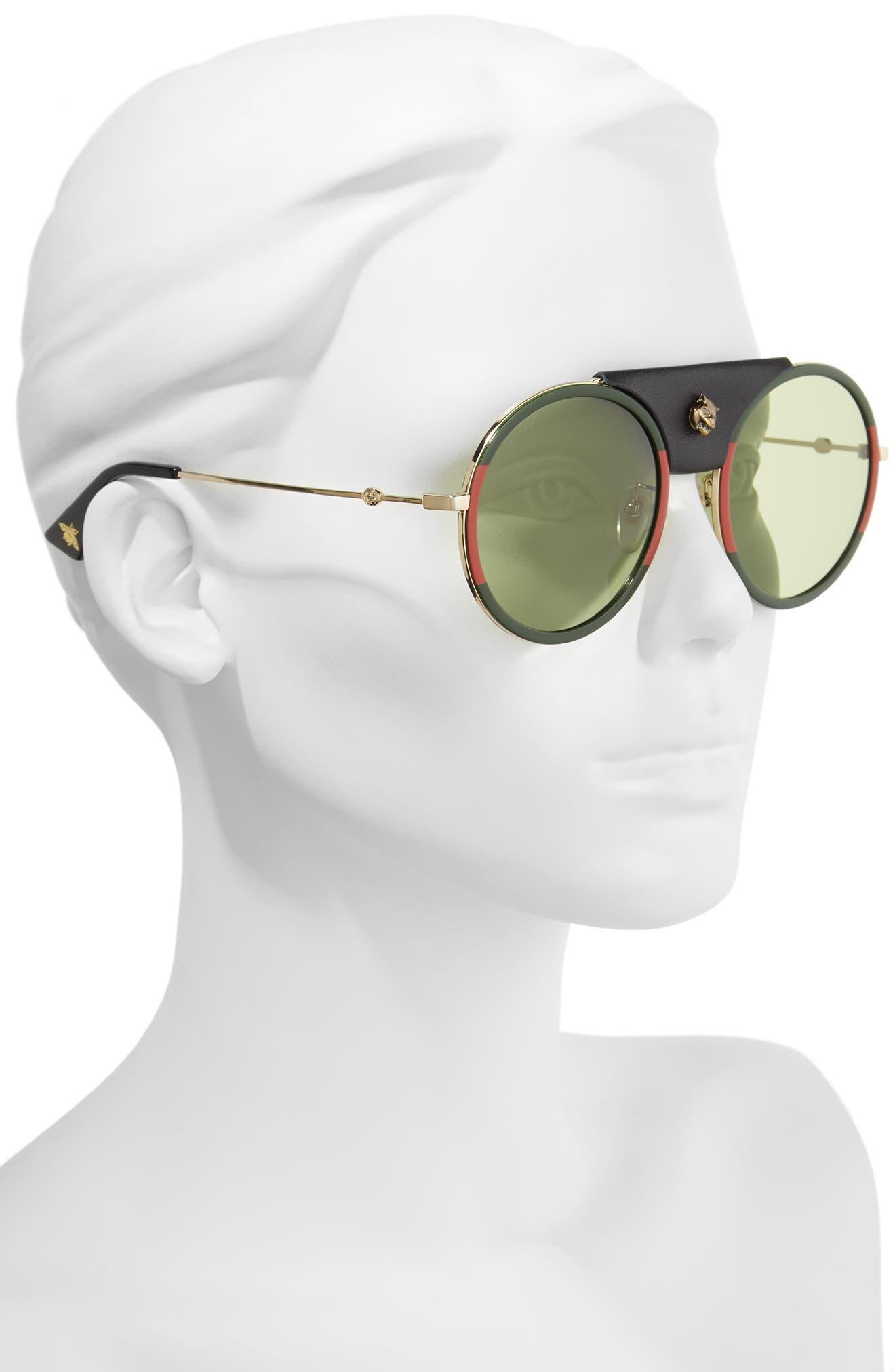 56mm Leather Bridge Aviator Sunglasses,                             Alternate thumbnail 2, color,                             Gold/ Black