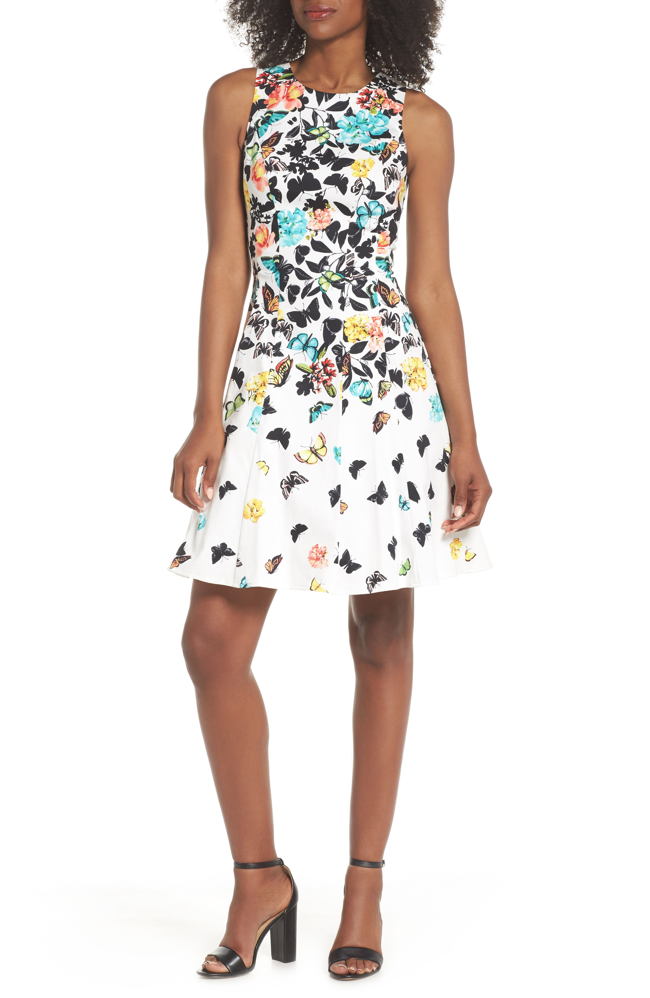 Printed Fit & Flare Dress,                             Main thumbnail 1, color,                             Soft White Multi