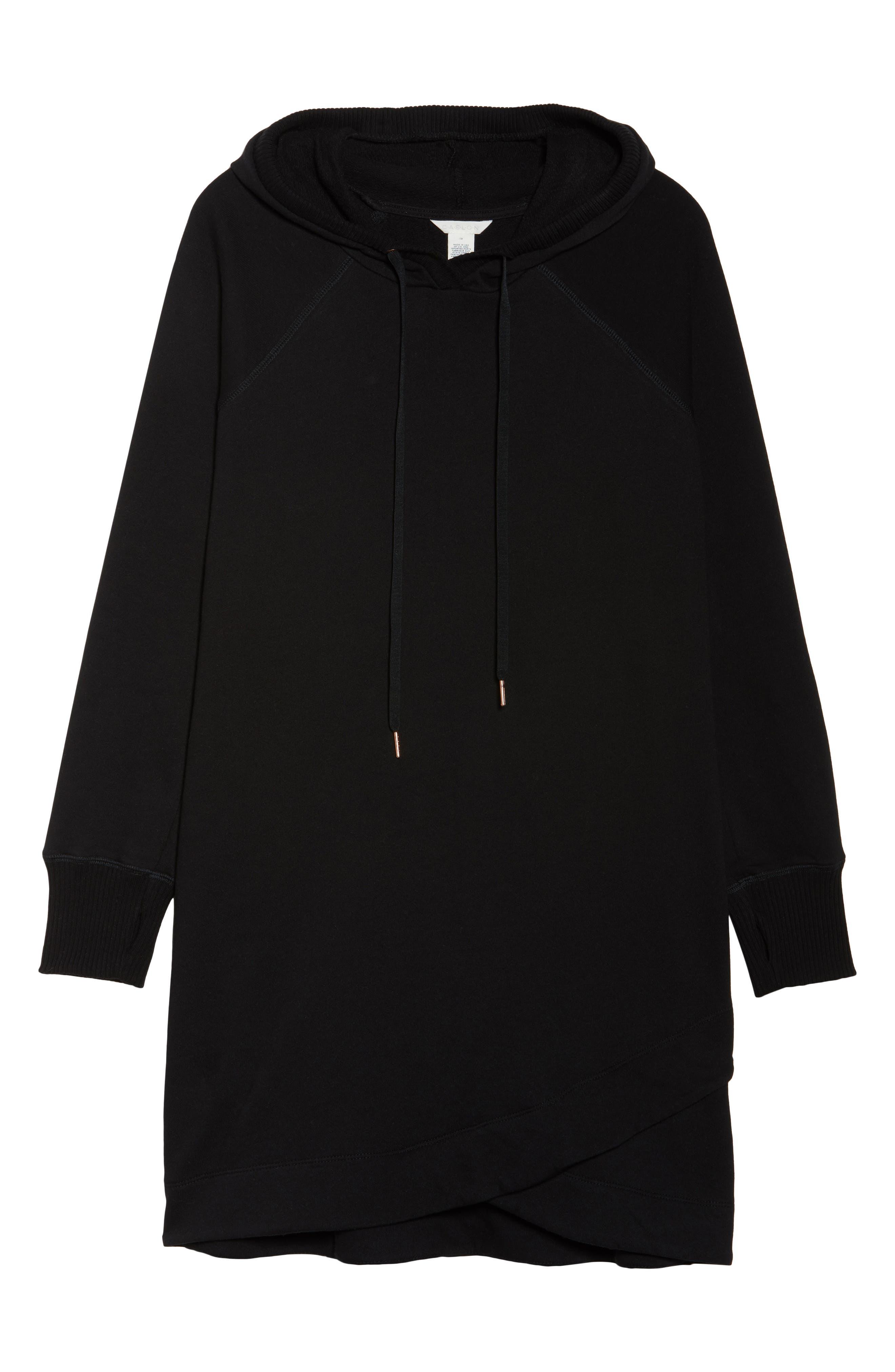 Off-Duty Hooded Sweatshirt Dress,                             Alternate thumbnail 6, color,                             Black
