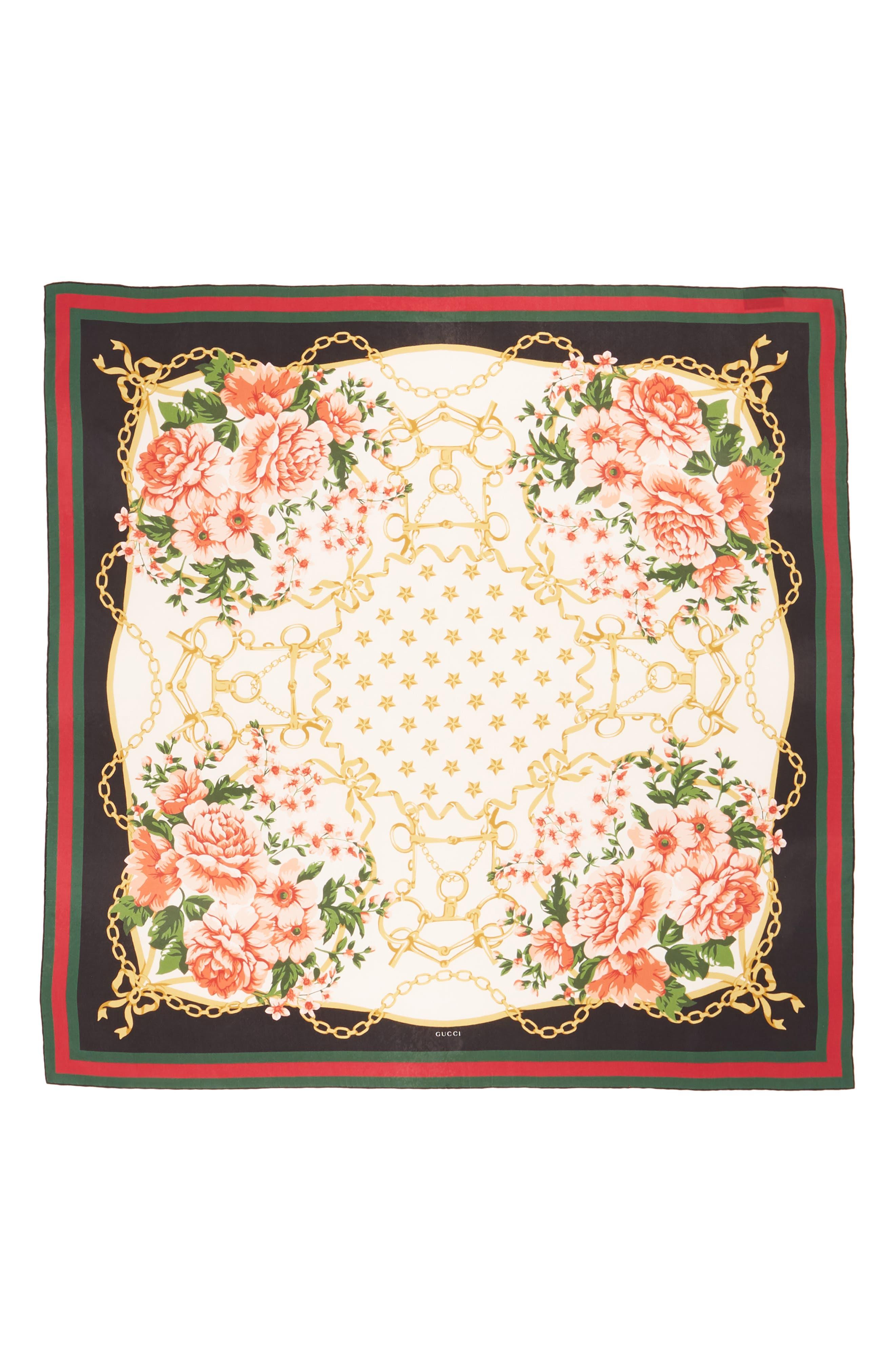 Rose Chain Foulard Silk Twill Scarf,                             Main thumbnail 1, color,                             Cream/ Blk