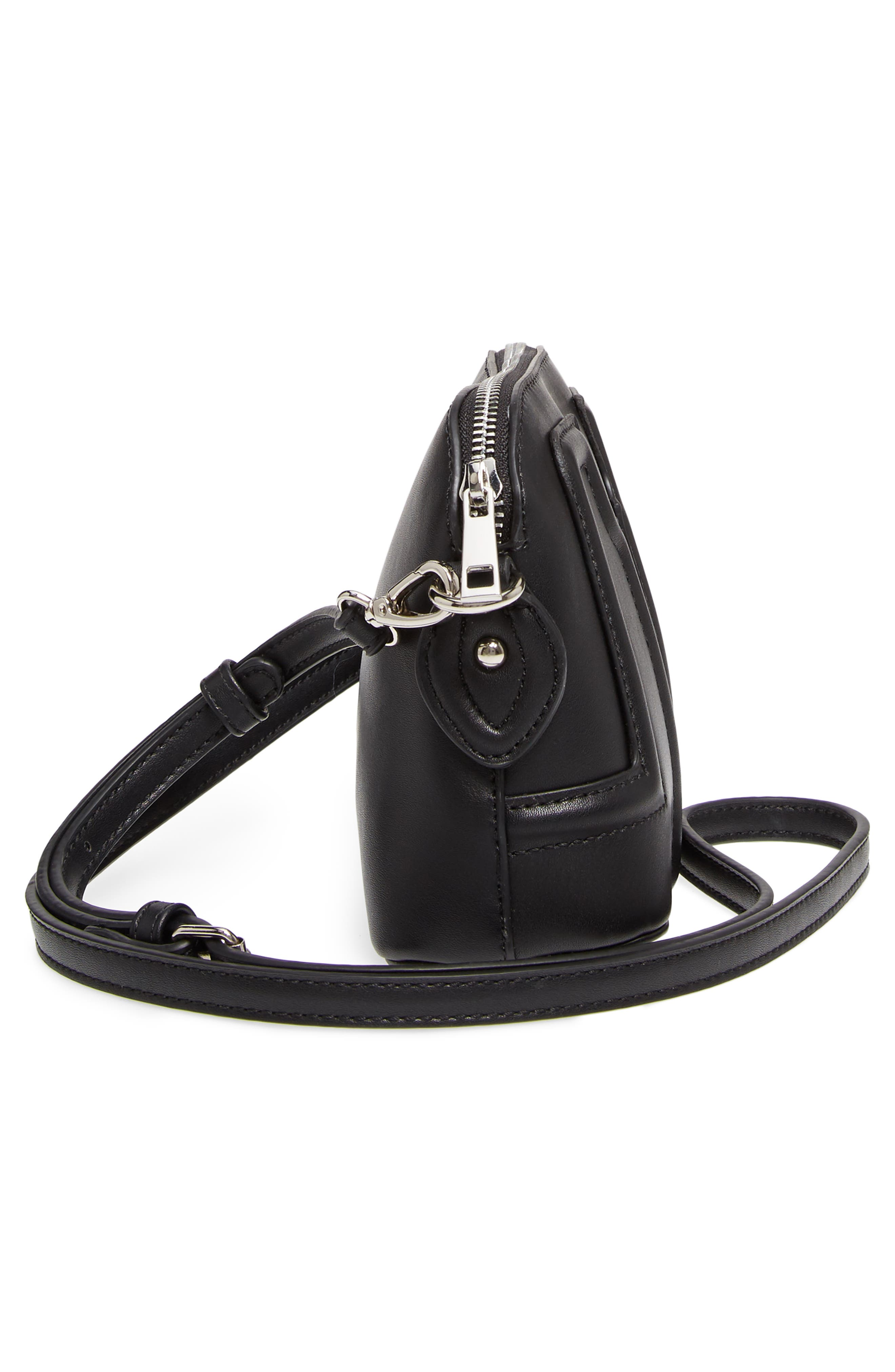 Structured Faux Leather Dome Crossbody,                             Alternate thumbnail 5, color,                             Black