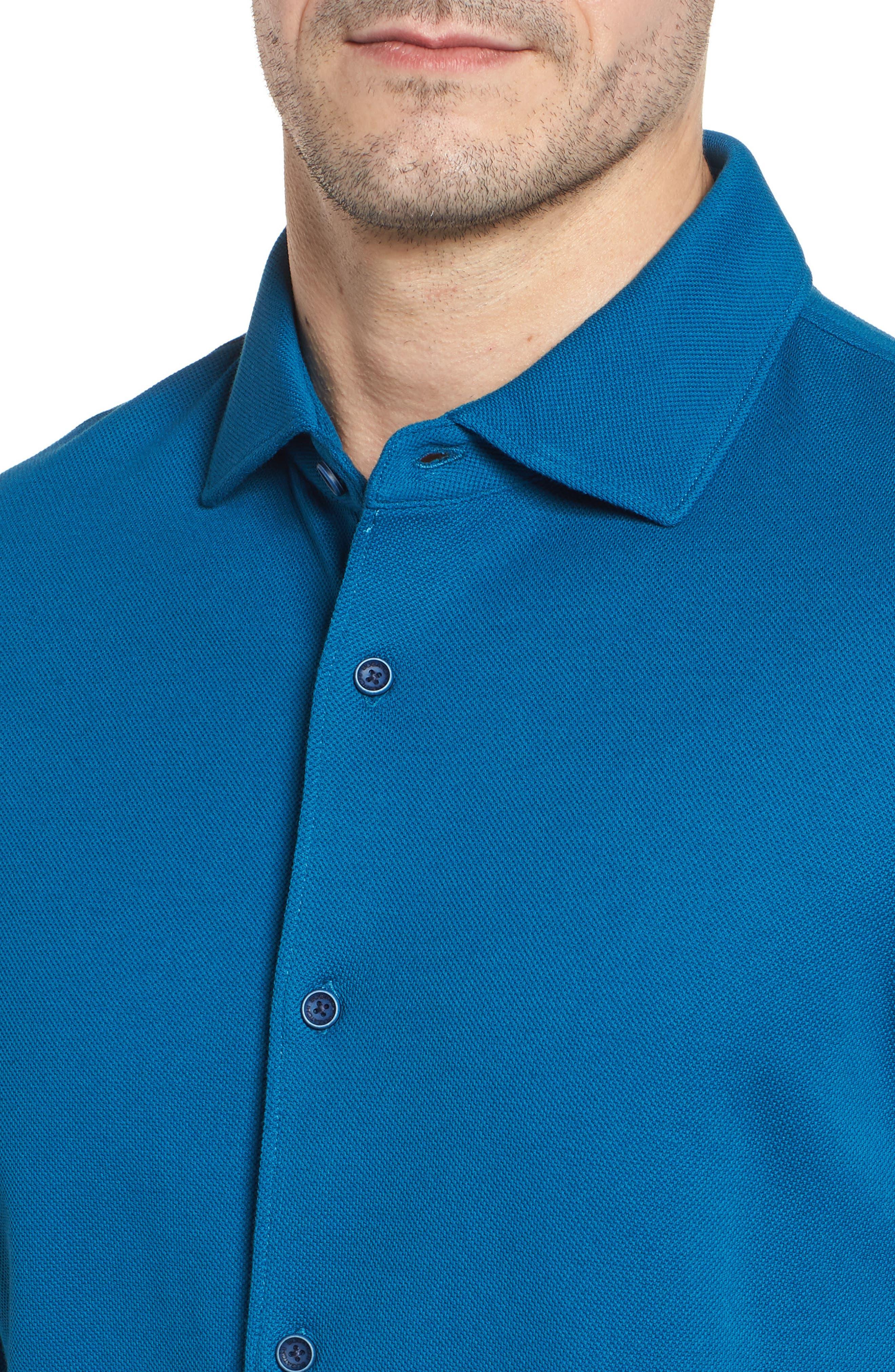 Regular Fit Knit Sport Shirt,                             Alternate thumbnail 4, color,                             Teal