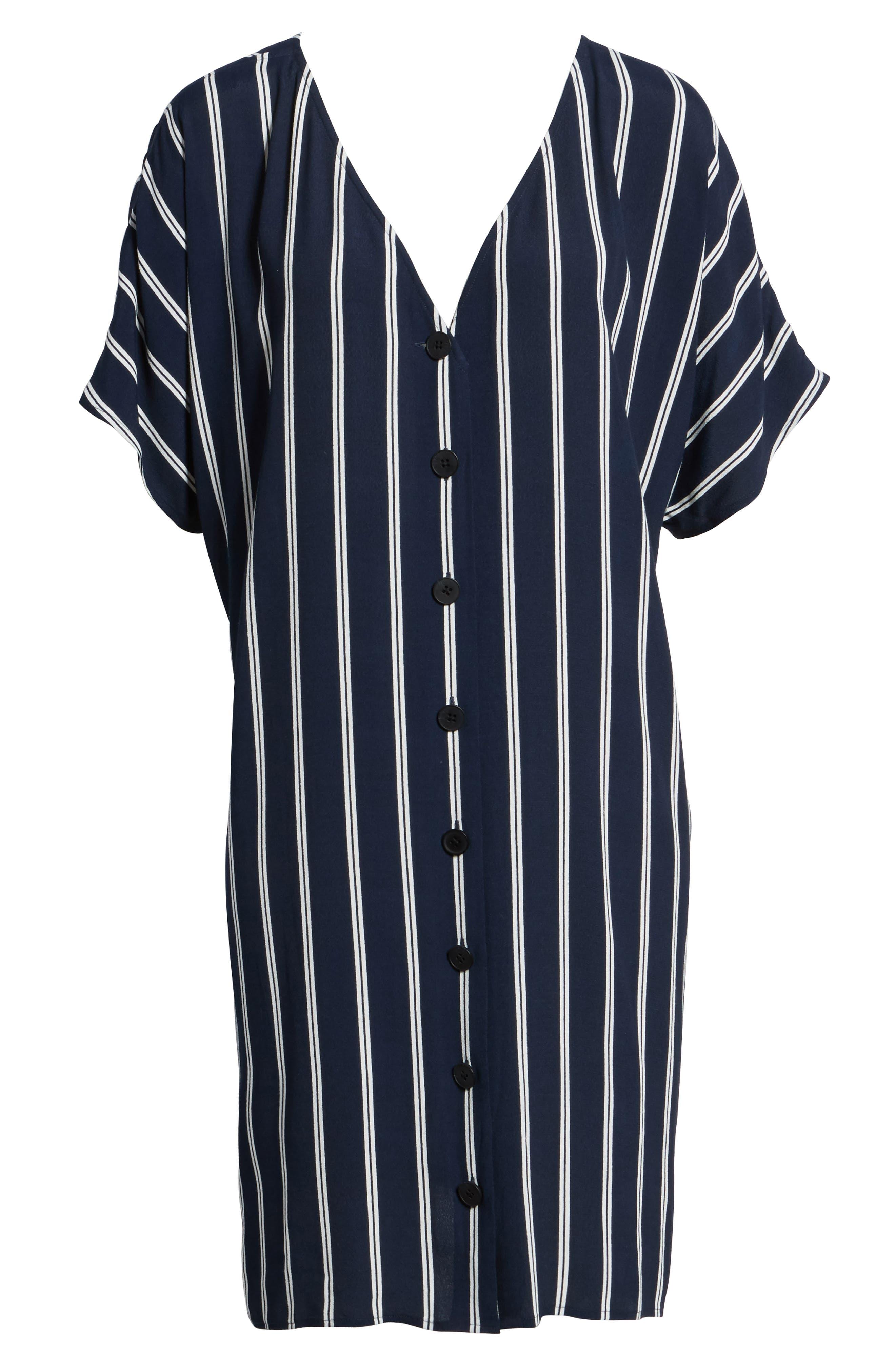 Stripe Plaza Dress,                             Alternate thumbnail 6, color,                             Double Deep Navy
