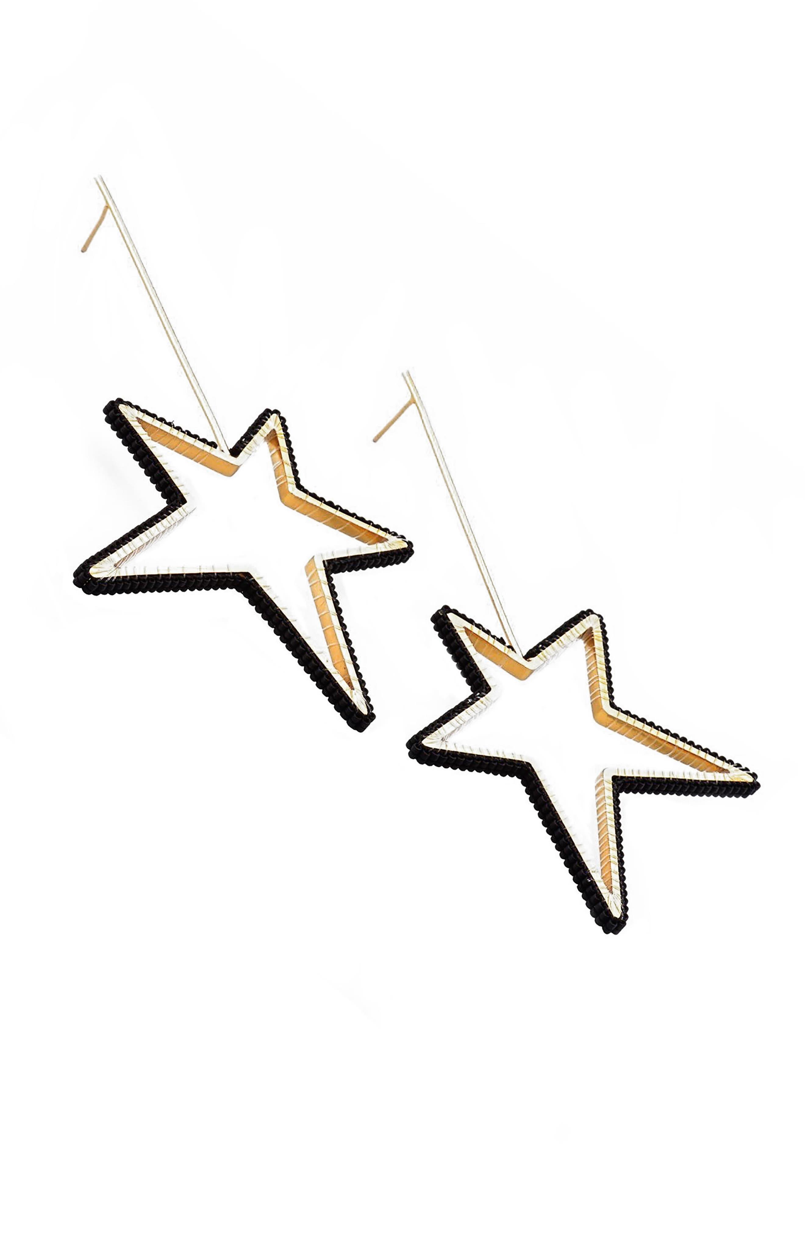 Large Beaded Star Earrings,                         Main,                         color, Black