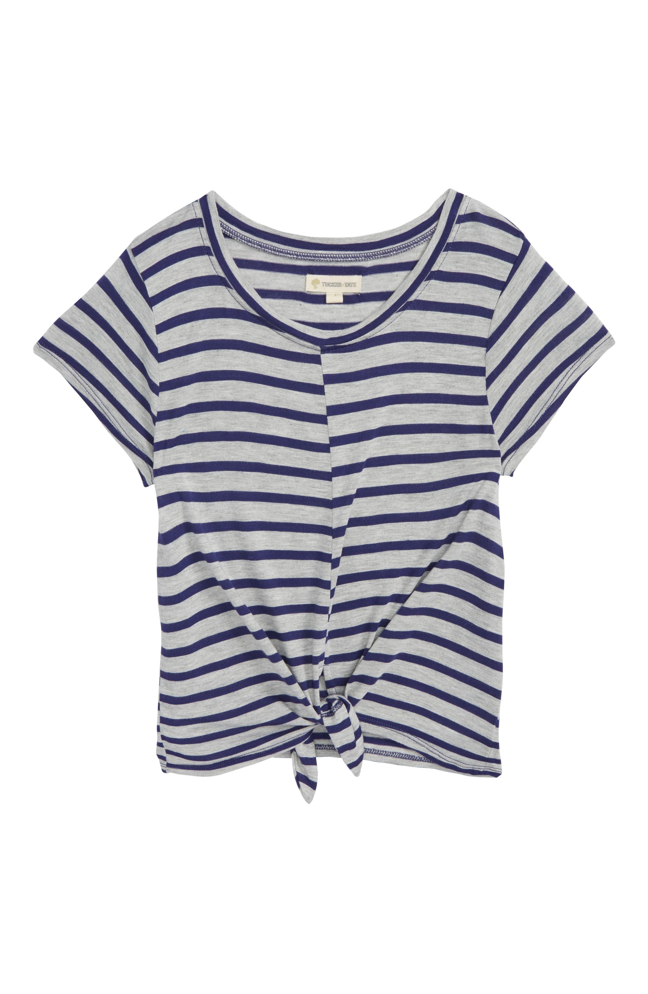 Stripe Knot Tee,                             Main thumbnail 1, color,                             Grey Ash Heather- Navy Stripe
