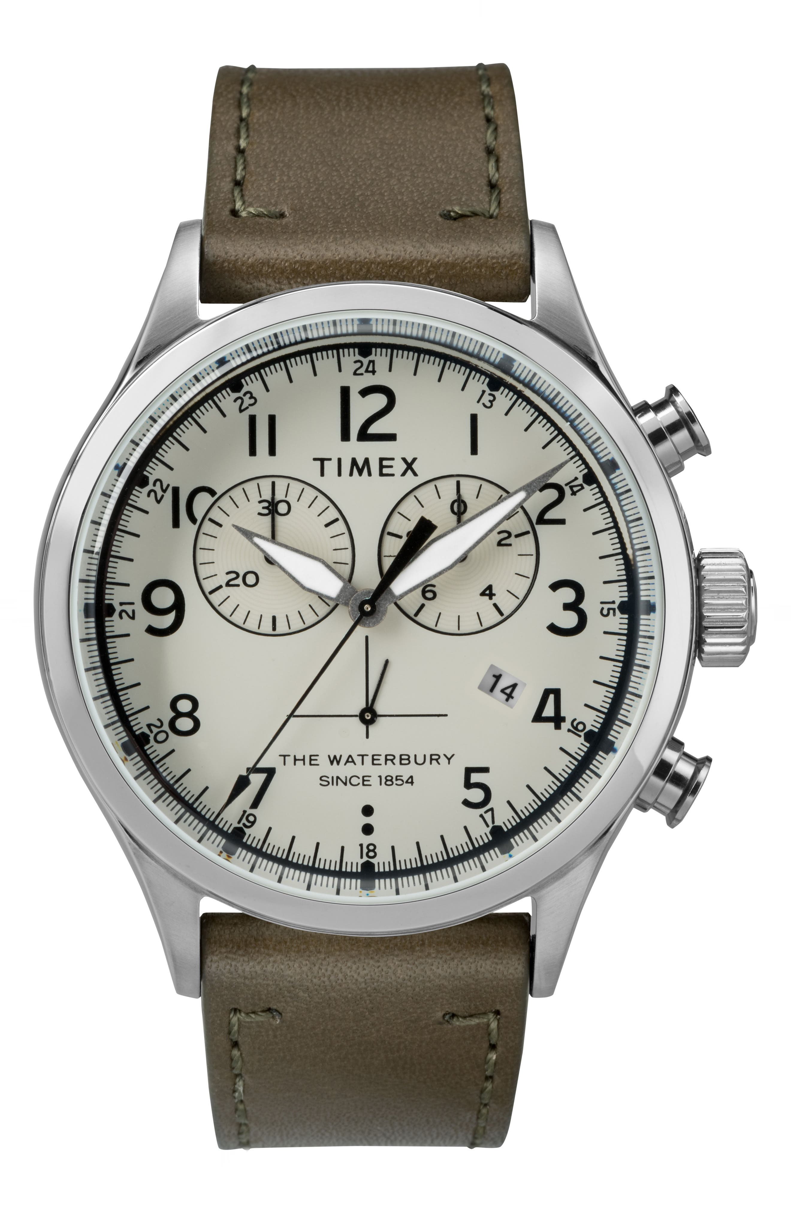 Timex Waterbury Chronograph Leather Strap Watch, 42mm,                             Main thumbnail 1, color,                             Olive/ Cream/ Silver