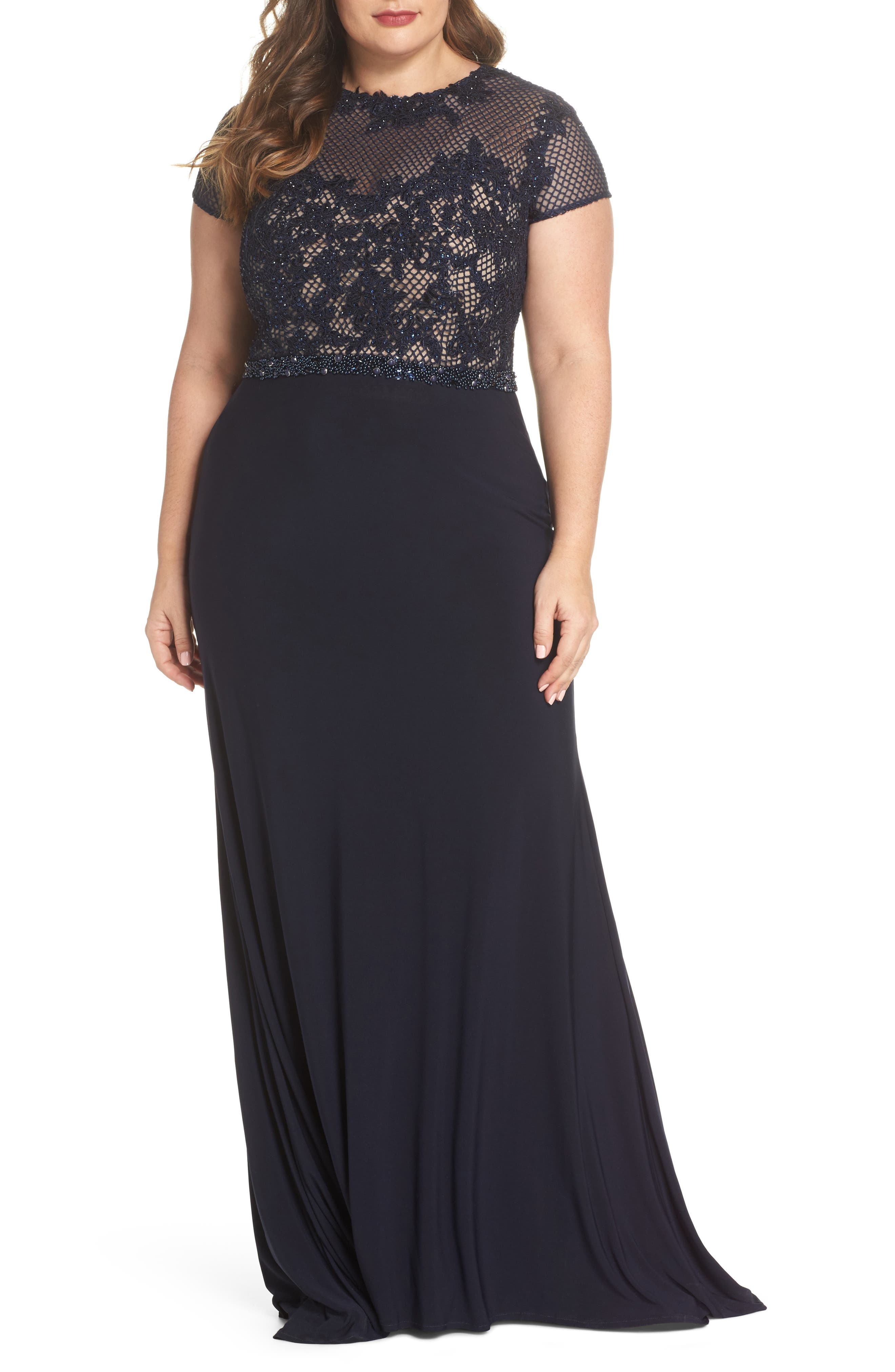 Mac Duggal Embellished Crochet & Jersey Gown (Plus Size)