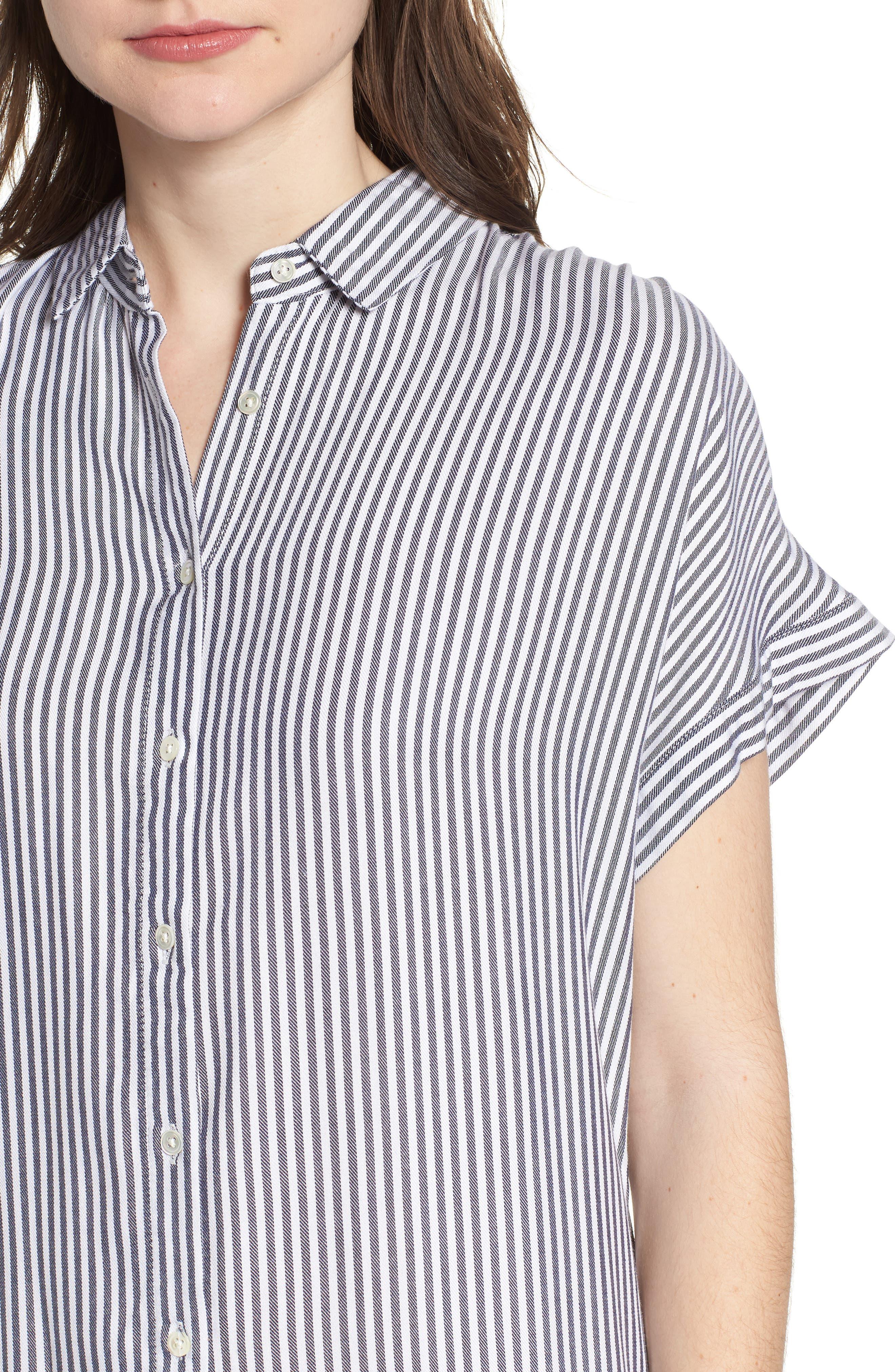 Skipper Stripe Shirtdress,                             Alternate thumbnail 4, color,                             Navy White