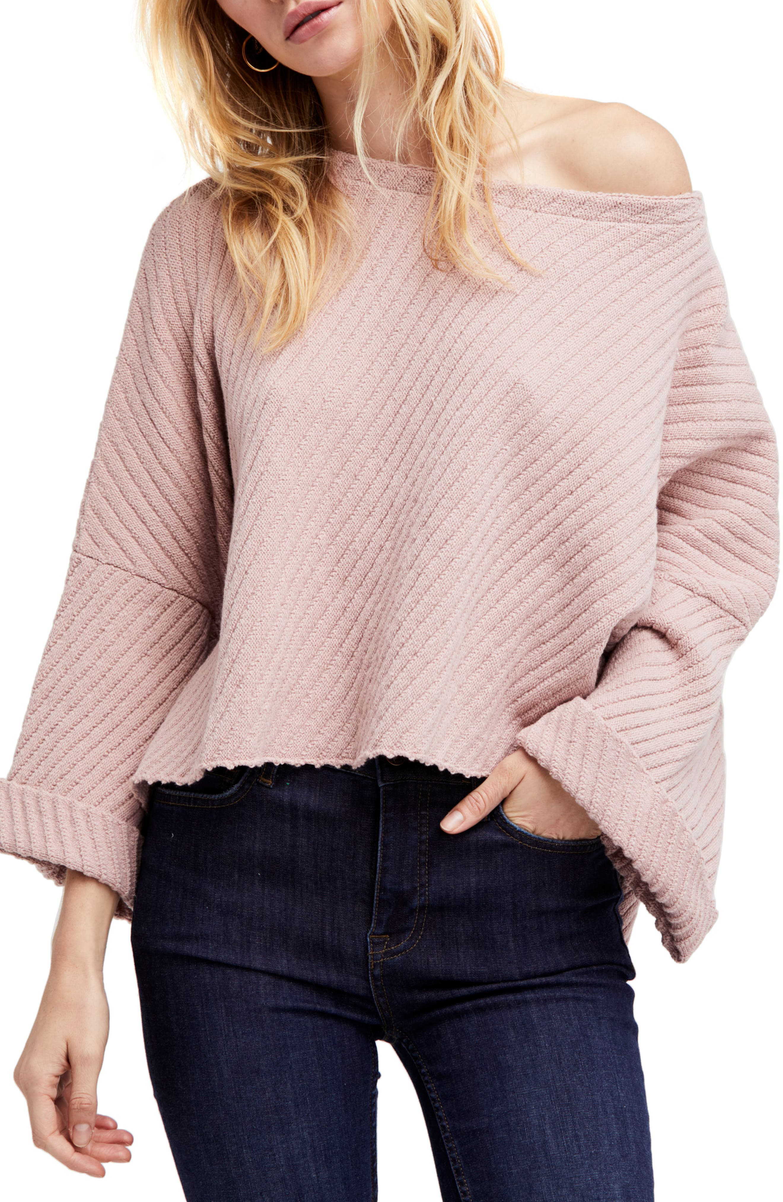 I Can't Wait Crop Sweater,                             Main thumbnail 1, color,                             Rose