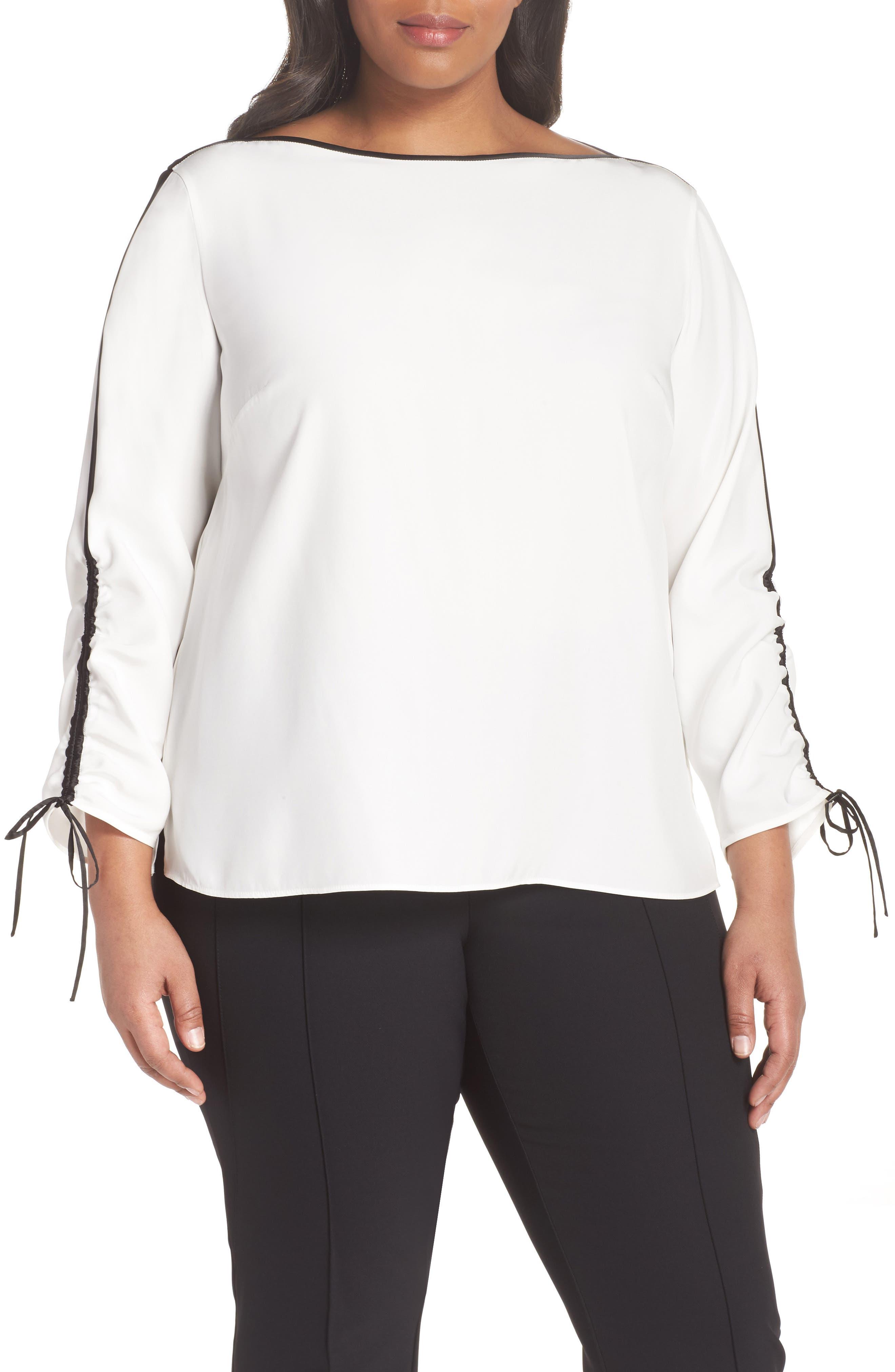 Lafayette 148 New York Georgina Matte Silk Blouse (Plus Size)