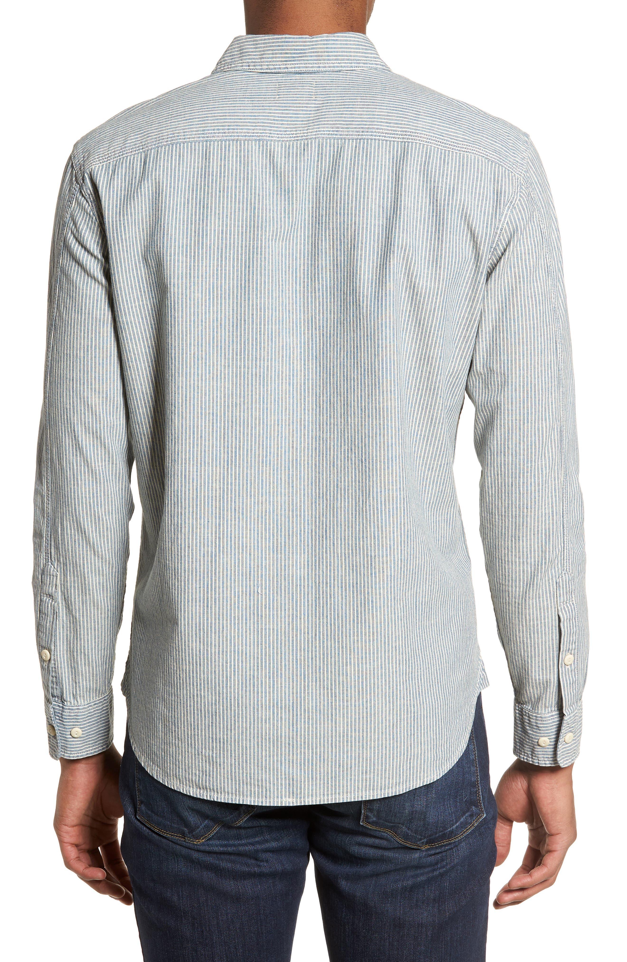 Nelson Slim Fit Stripe Sport Shirt,                             Alternate thumbnail 3, color,                             Indigo/ White Stripe