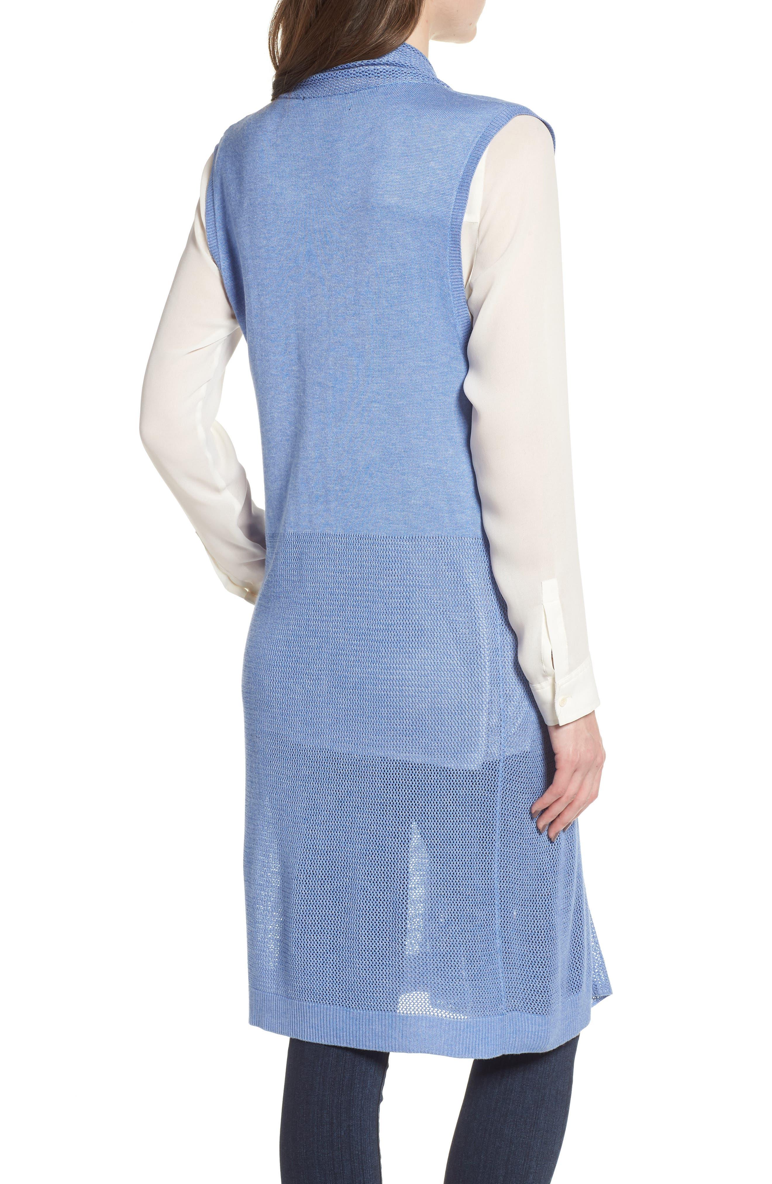Longline Mesh Vest,                             Alternate thumbnail 2, color,                             Blue