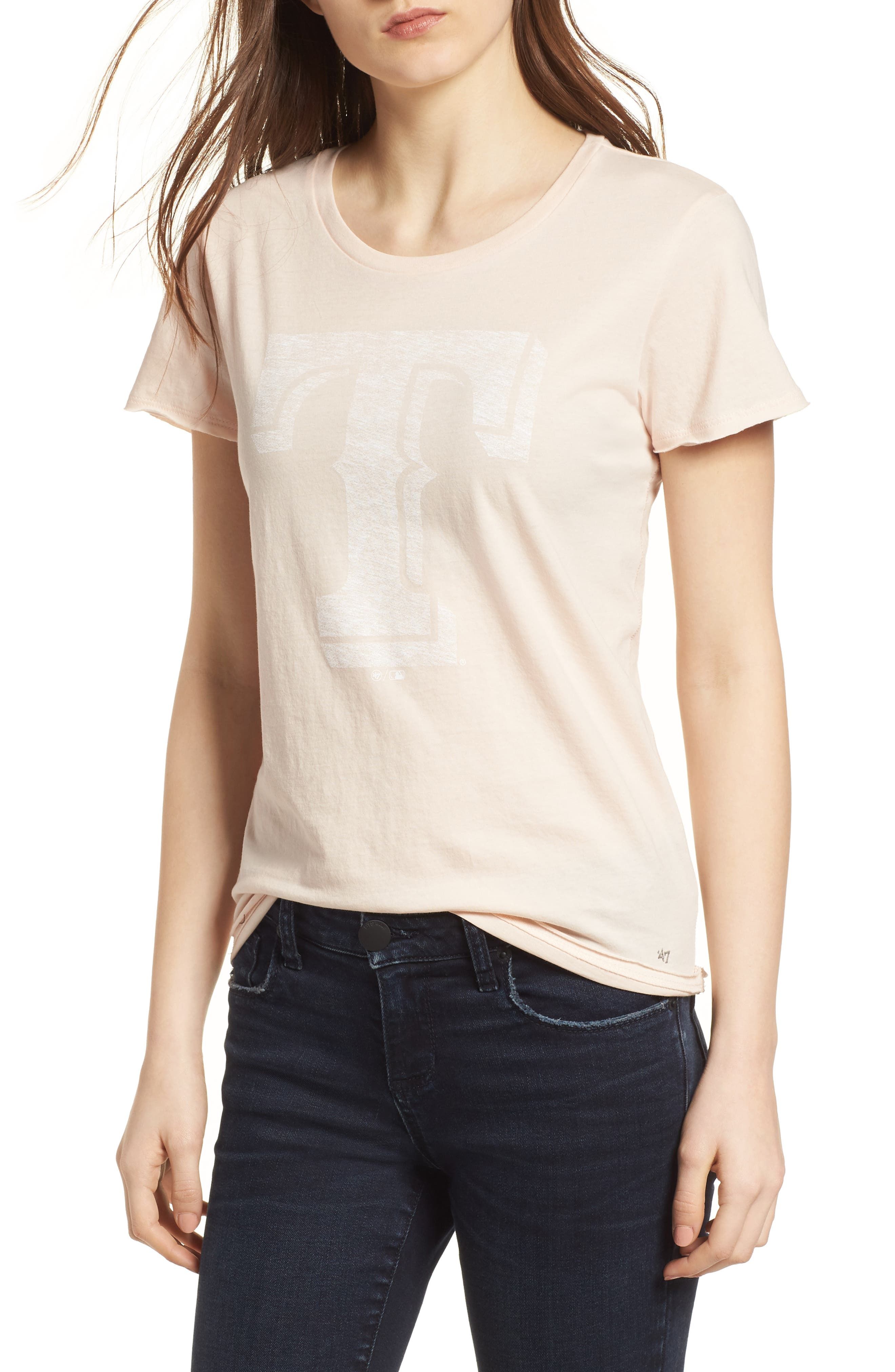 Texas Rangers Fader Letter Tee,                         Main,                         color, Blush