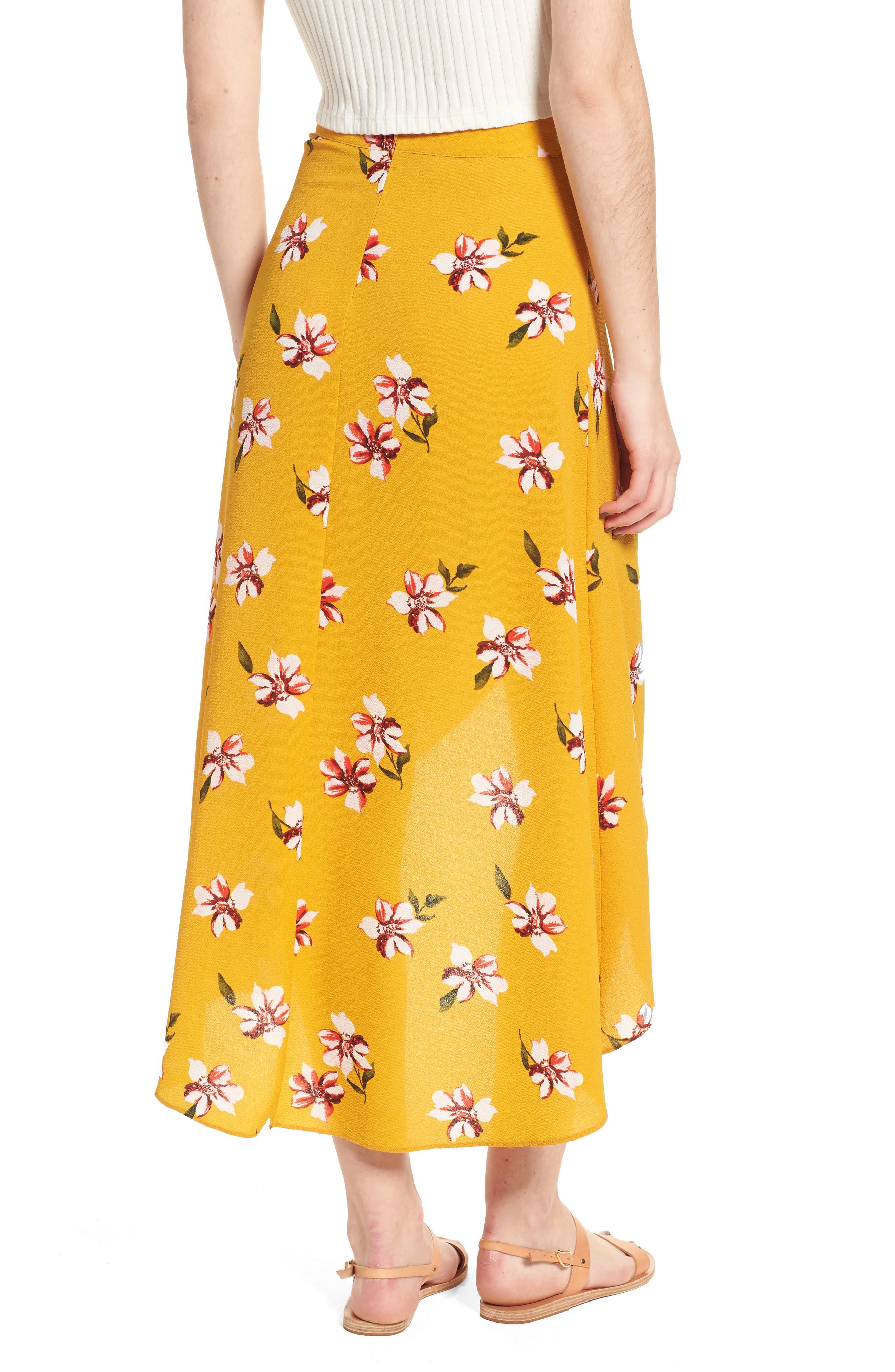 Floral Surplice Skirt,                             Alternate thumbnail 3, color,                             Mustard Floral