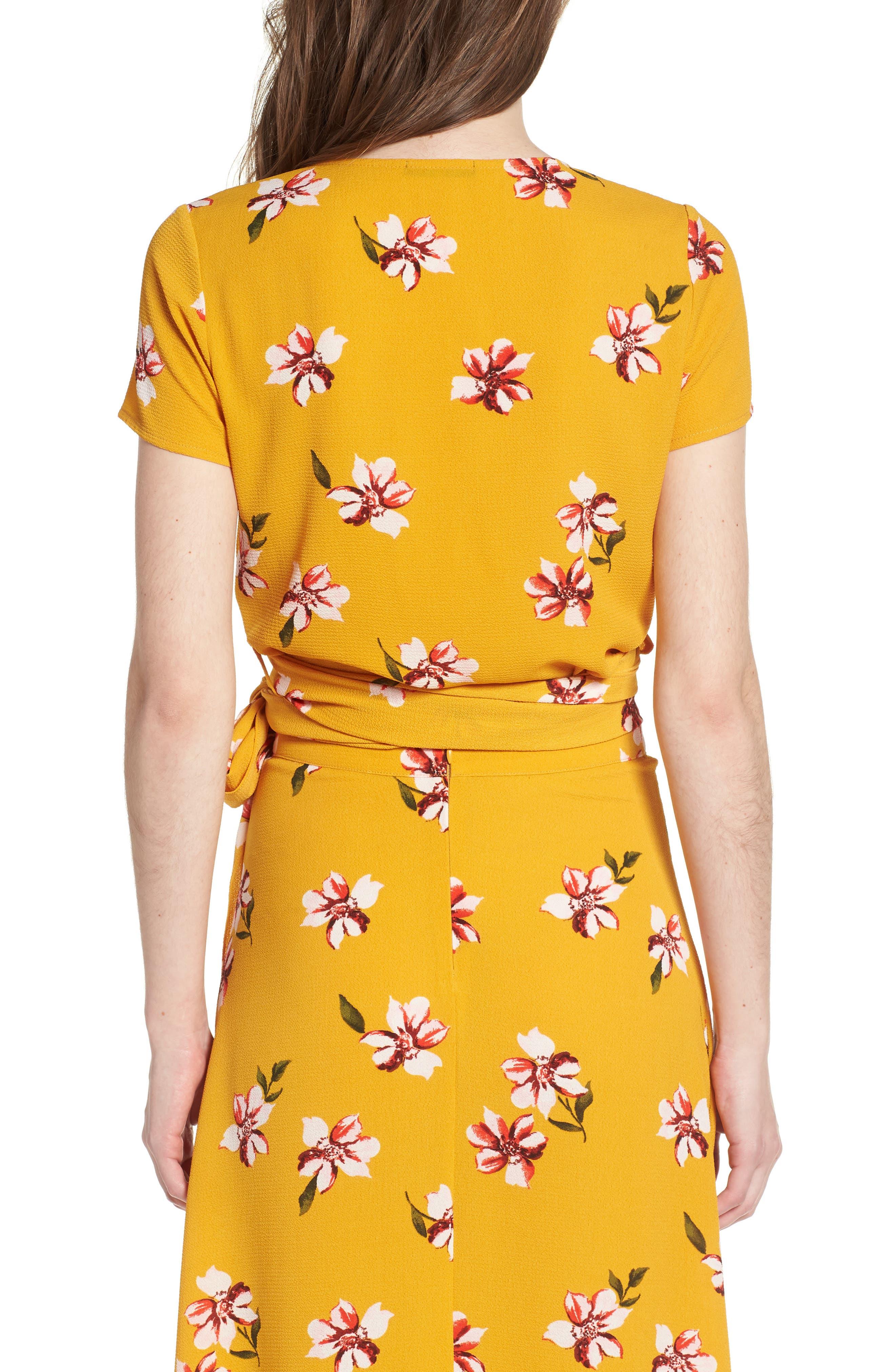Floral Wrap Crop Top,                             Alternate thumbnail 2, color,                             Mustard Floral