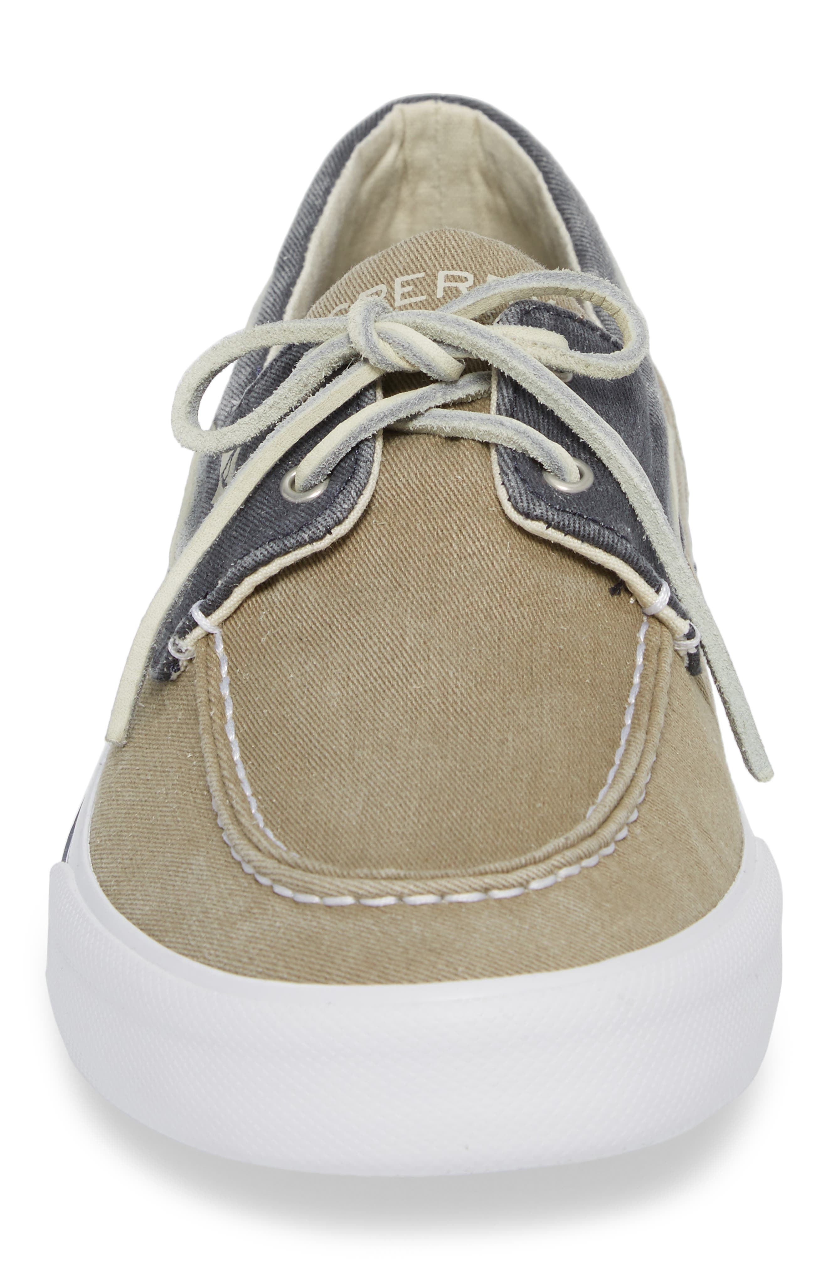 Striper II Boat Shoe,                             Alternate thumbnail 4, color,                             Taupe/ Navy