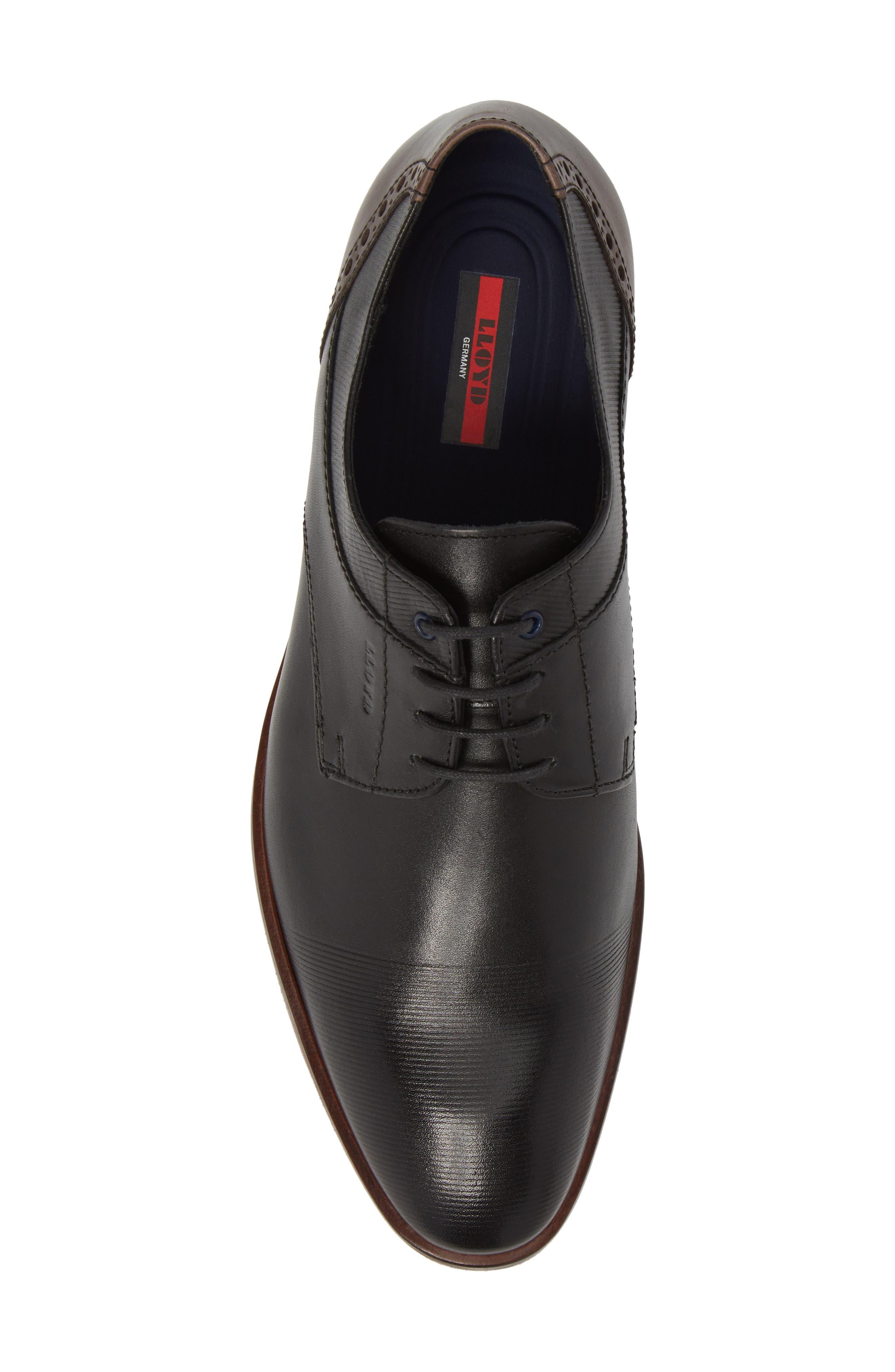 Henley Embossed Cap Toe Derby,                             Alternate thumbnail 5, color,                             Black/ Blue Leather