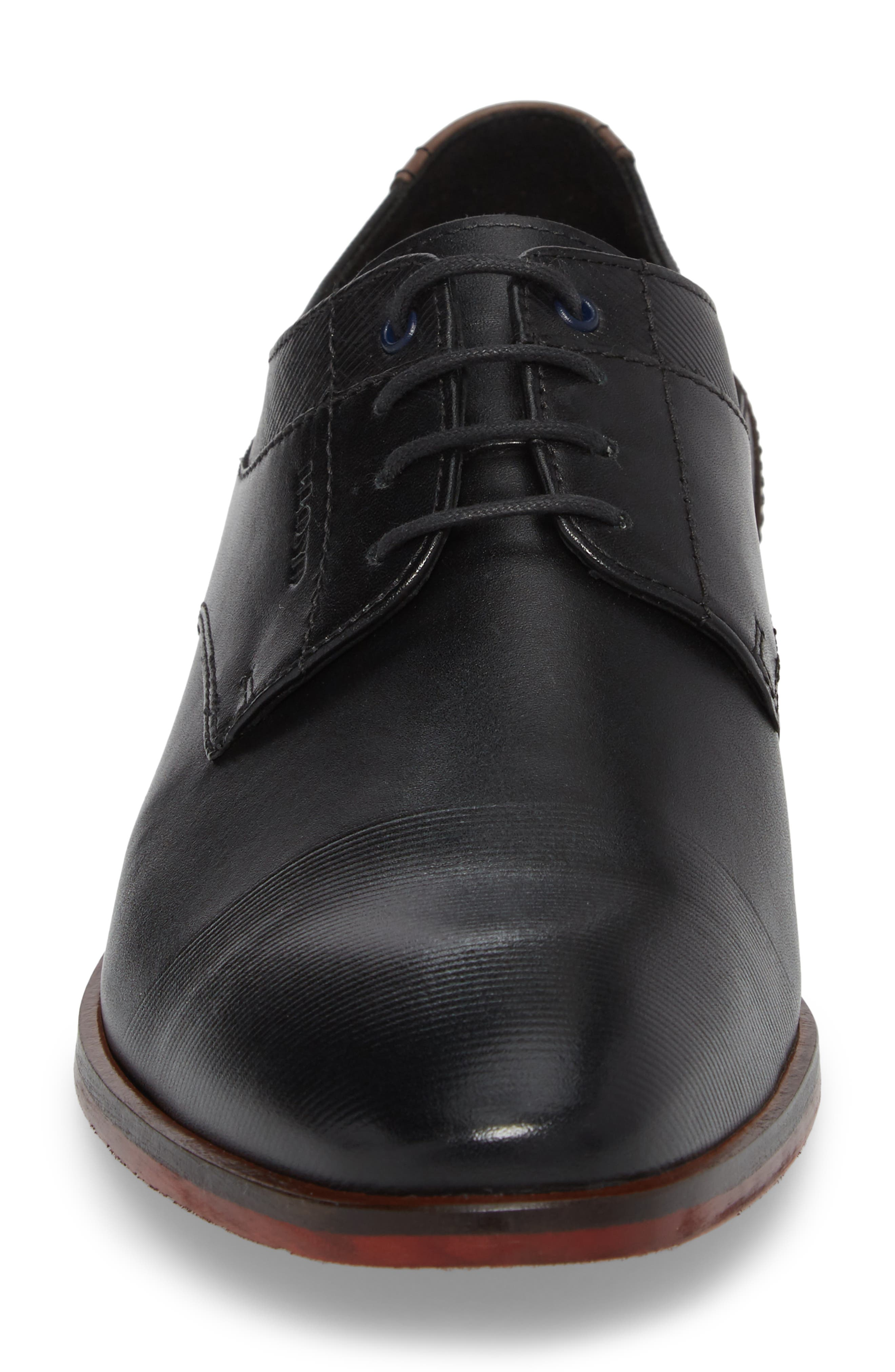 Henley Embossed Cap Toe Derby,                             Alternate thumbnail 4, color,                             Black/ Blue Leather