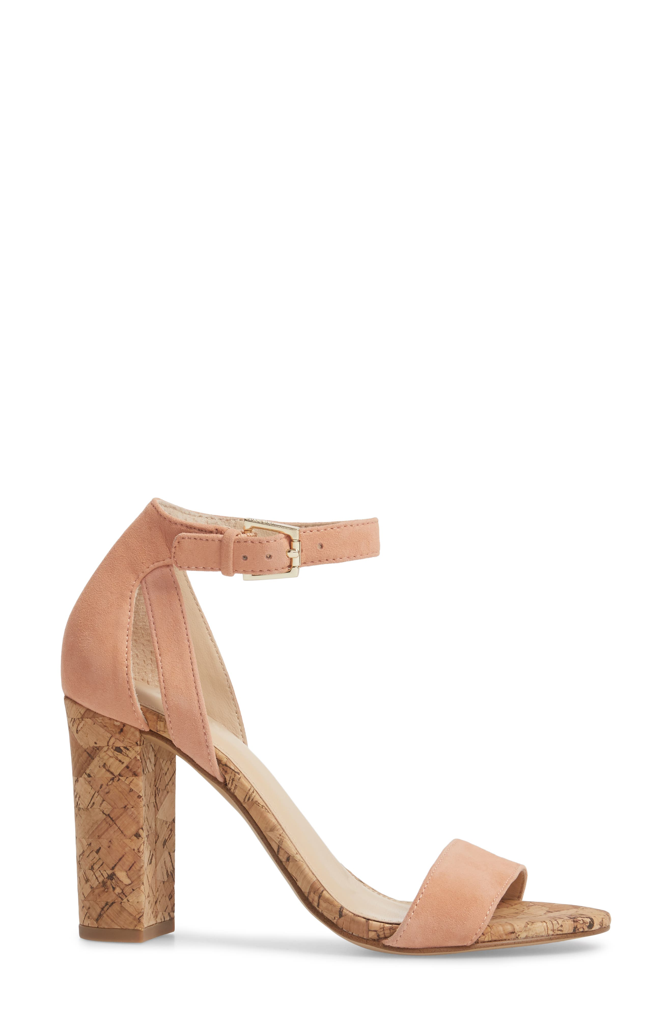 Gianna Ankle Strap Sandal,                             Alternate thumbnail 3, color,                             Soft Peach Suede