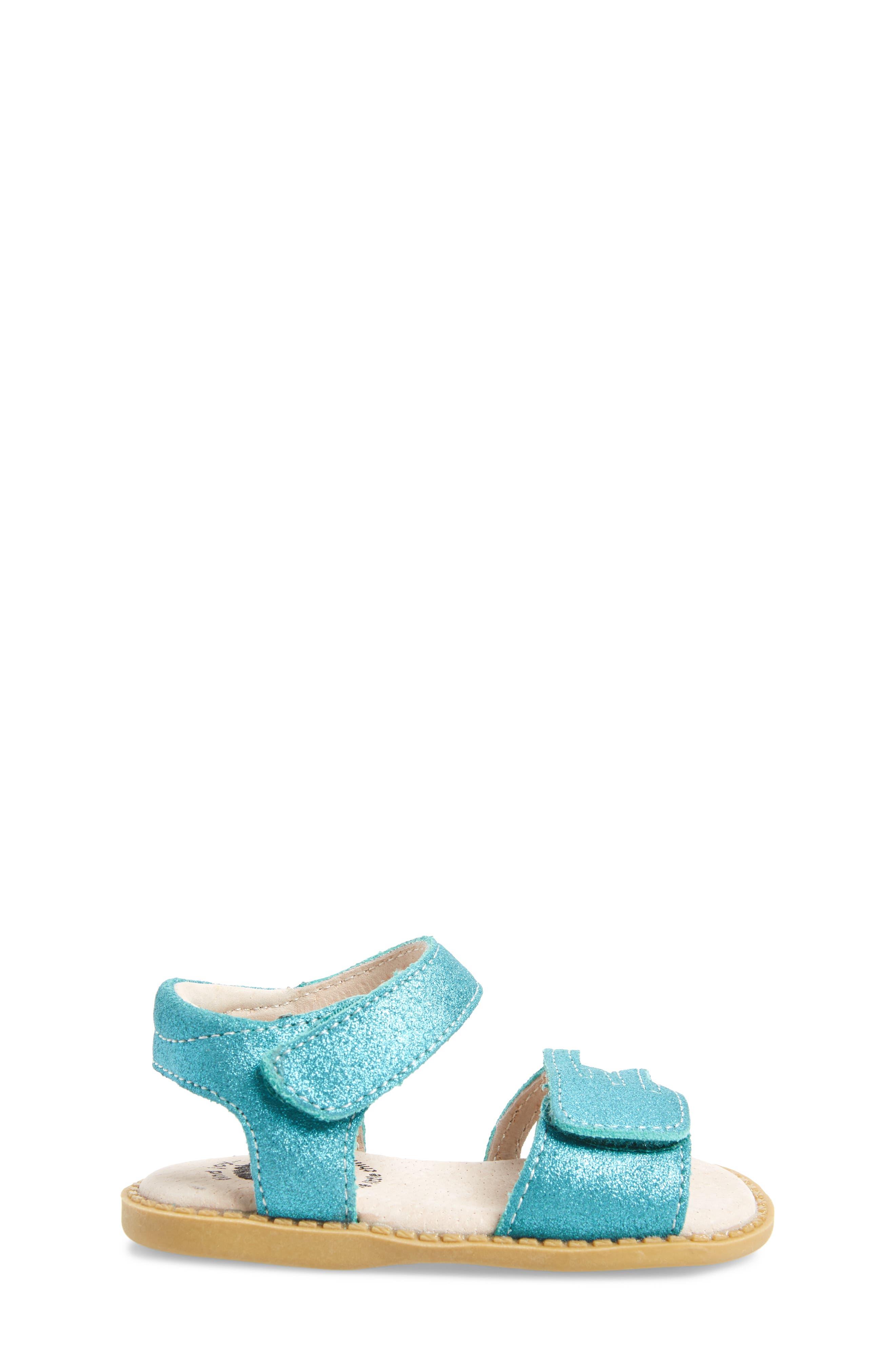 'Athena' Sandal,                             Alternate thumbnail 3, color,                             Aqua Shimmer