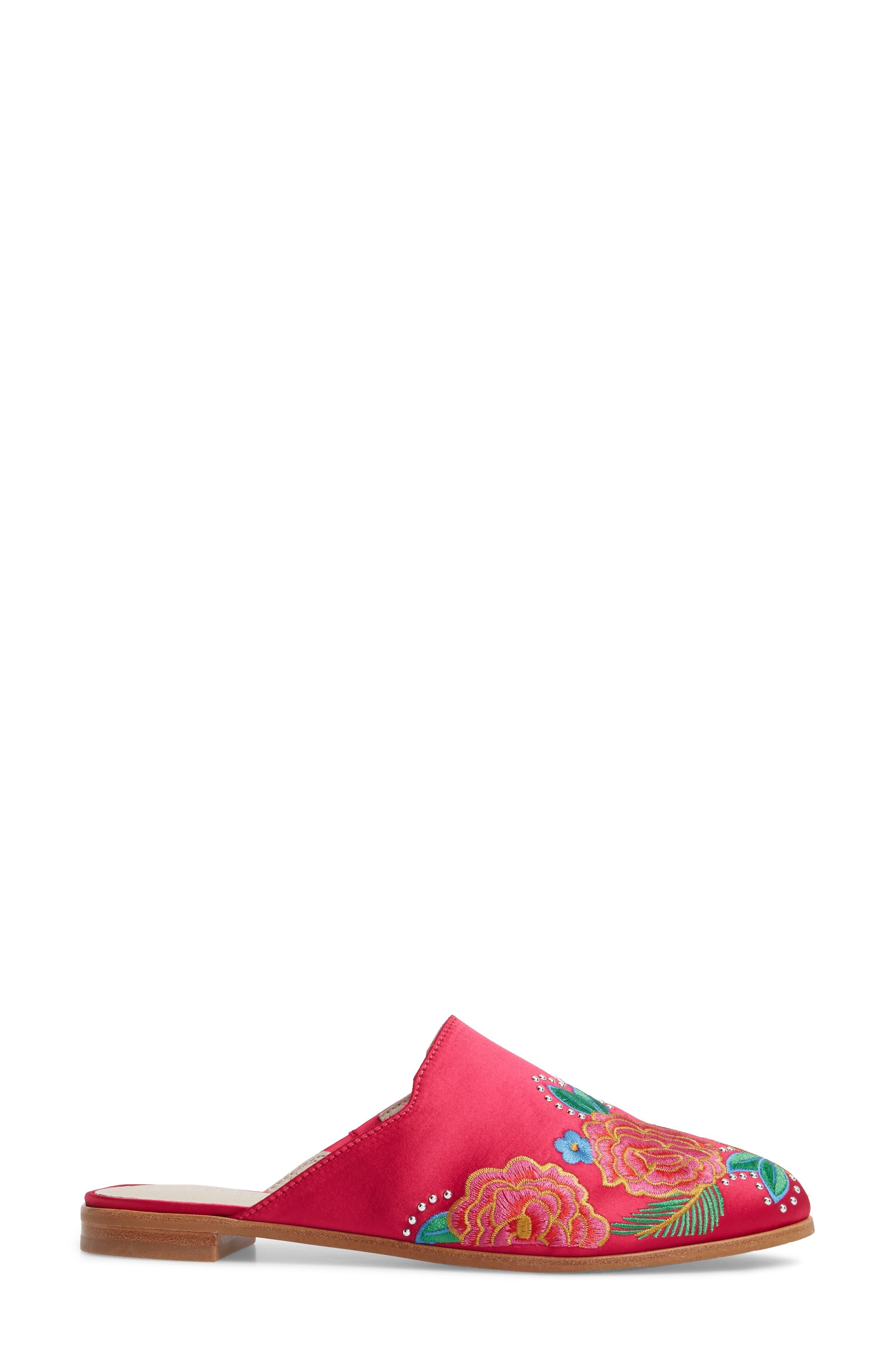 Roxanne Mule,                             Alternate thumbnail 3, color,                             Hot Pink Satin