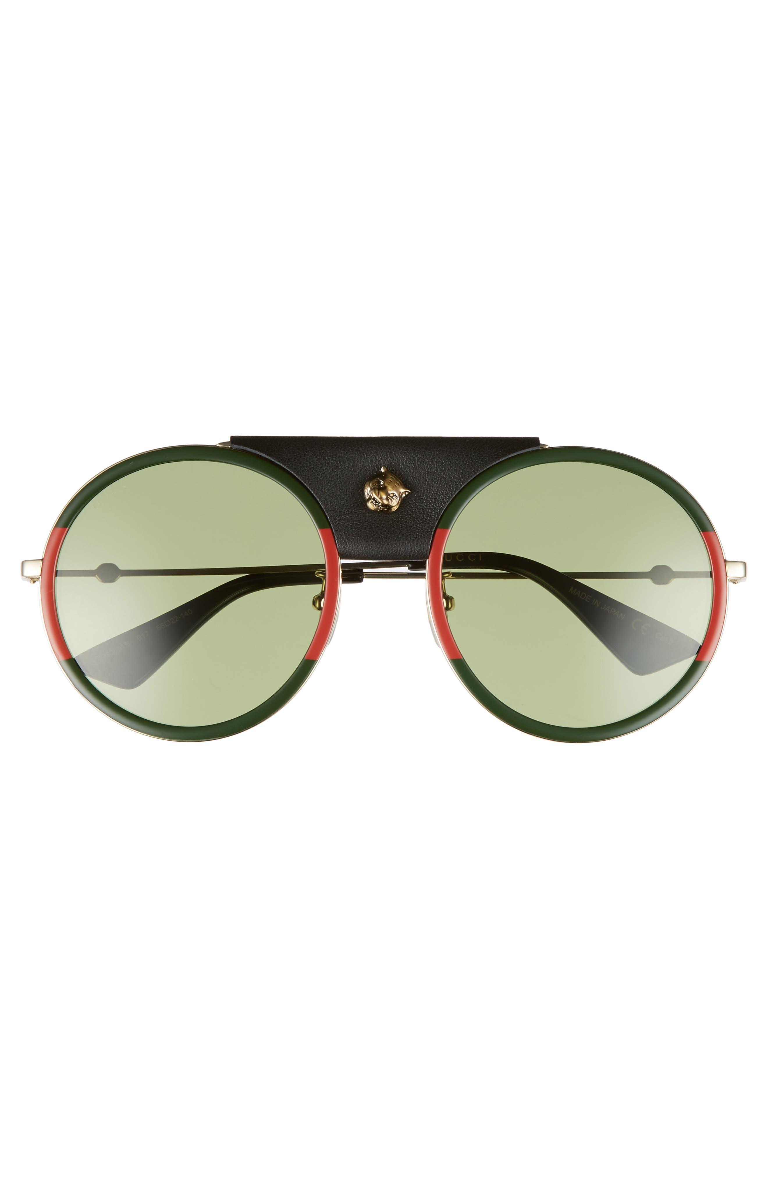 56mm Leather Bridge Aviator Sunglasses,                             Alternate thumbnail 3, color,                             Gold/ Black