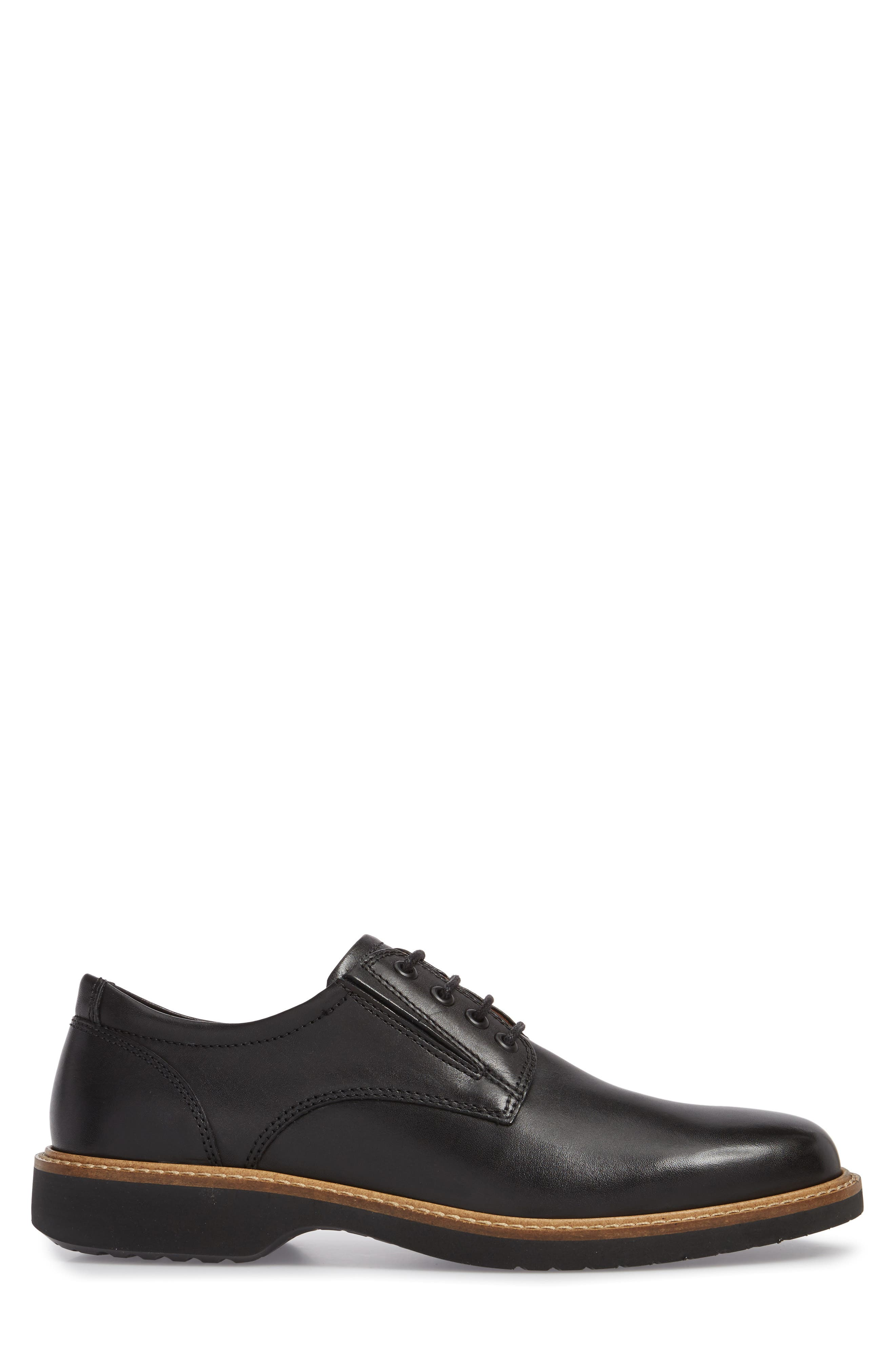 Ian Casual Plain Toe Derby,                             Alternate thumbnail 3, color,                             Black Leather