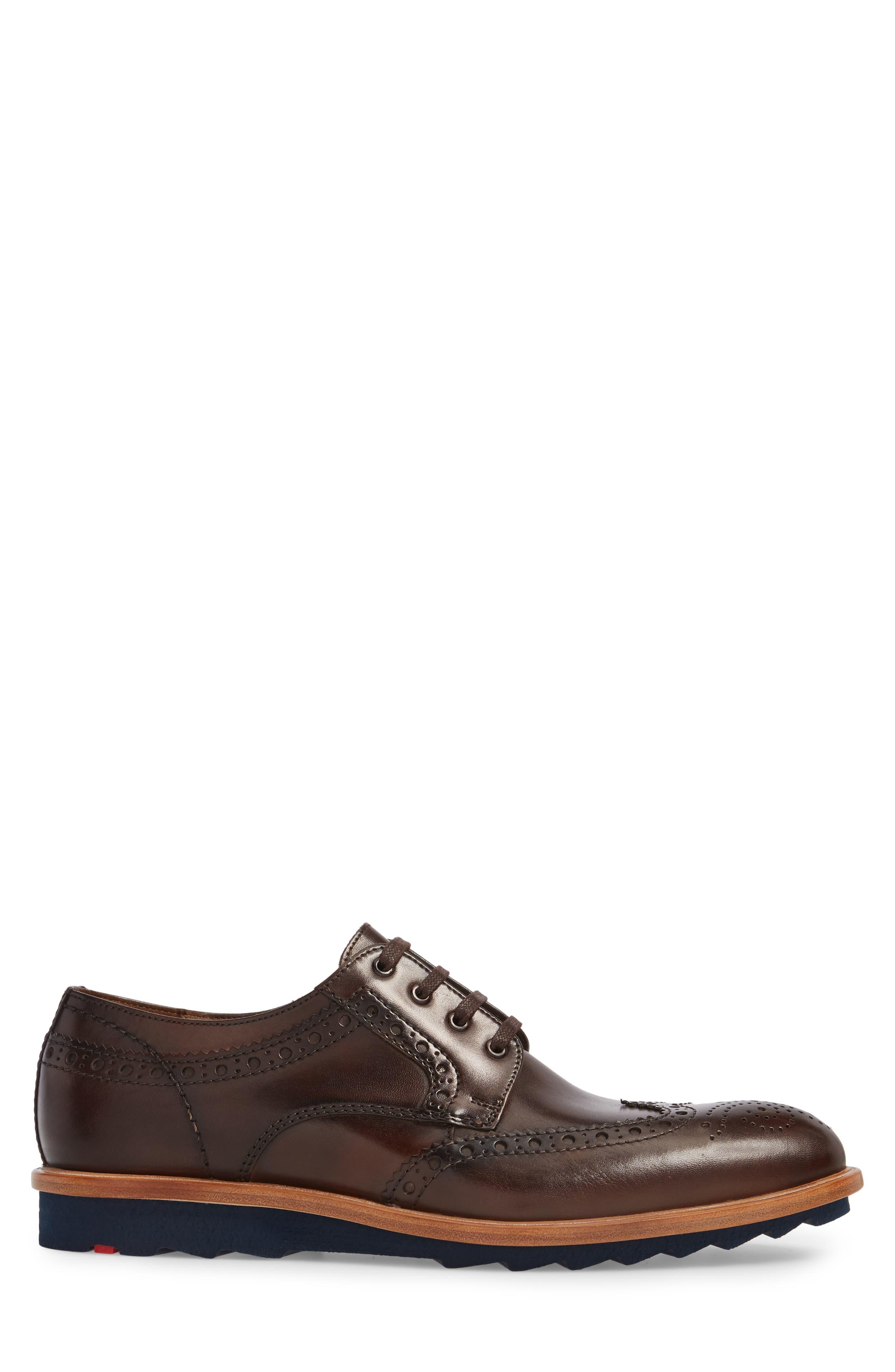 Fairbanks Wingtip,                             Alternate thumbnail 3, color,                             Brown Leather