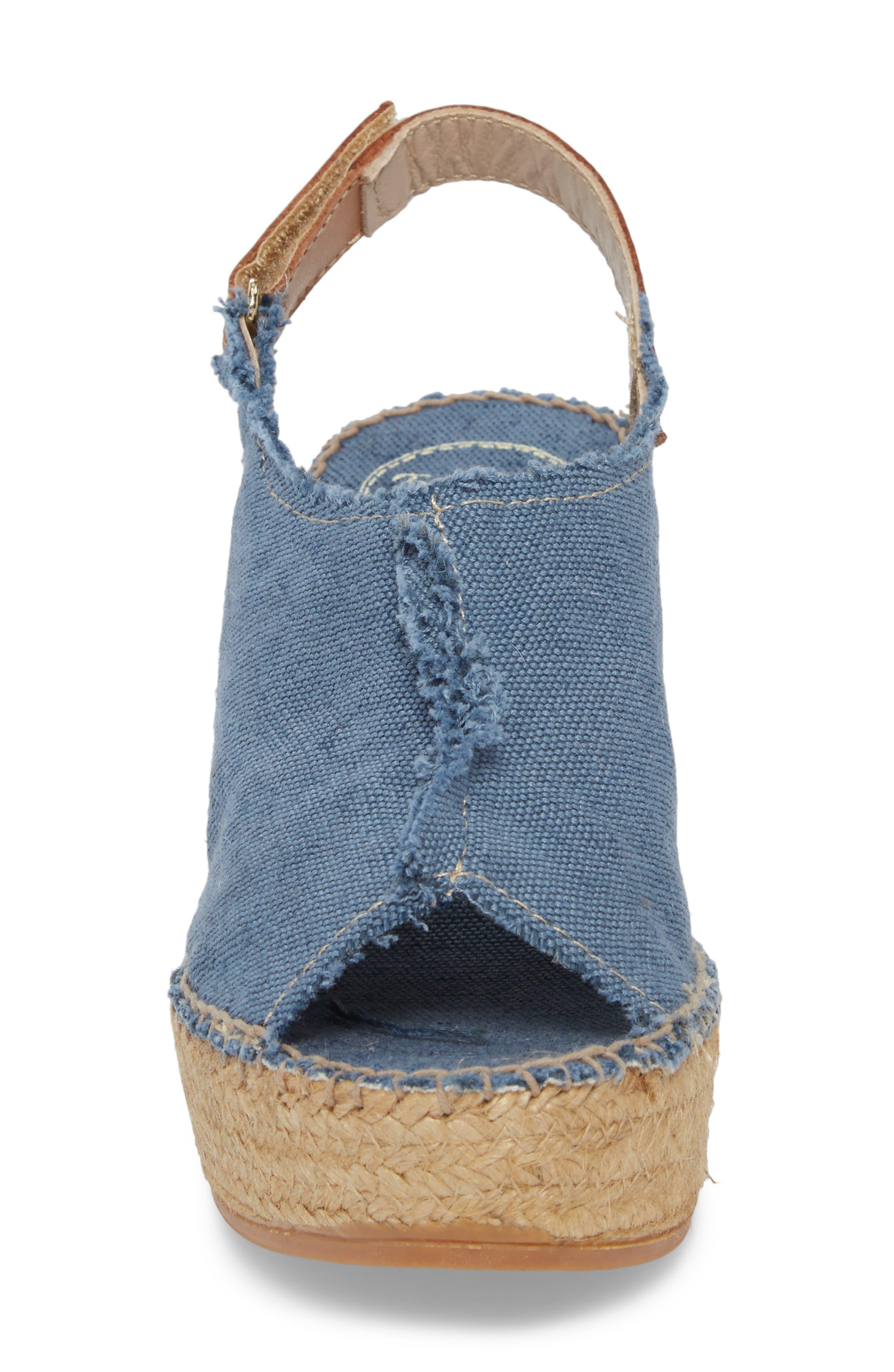'Lugano' Espadrille Wedge Sandal,                             Alternate thumbnail 4, color,                             Blue Fabric