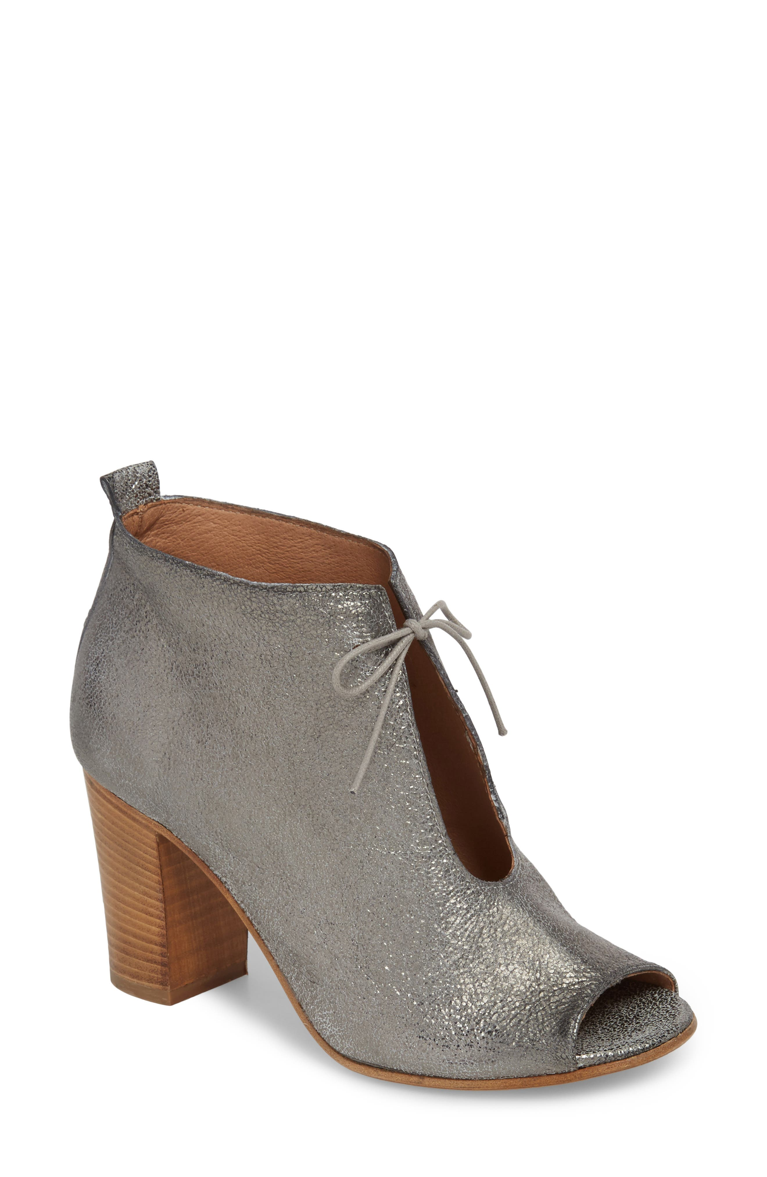 Borrini Open Toe Bootie,                             Main thumbnail 1, color,                             Pewter Leather