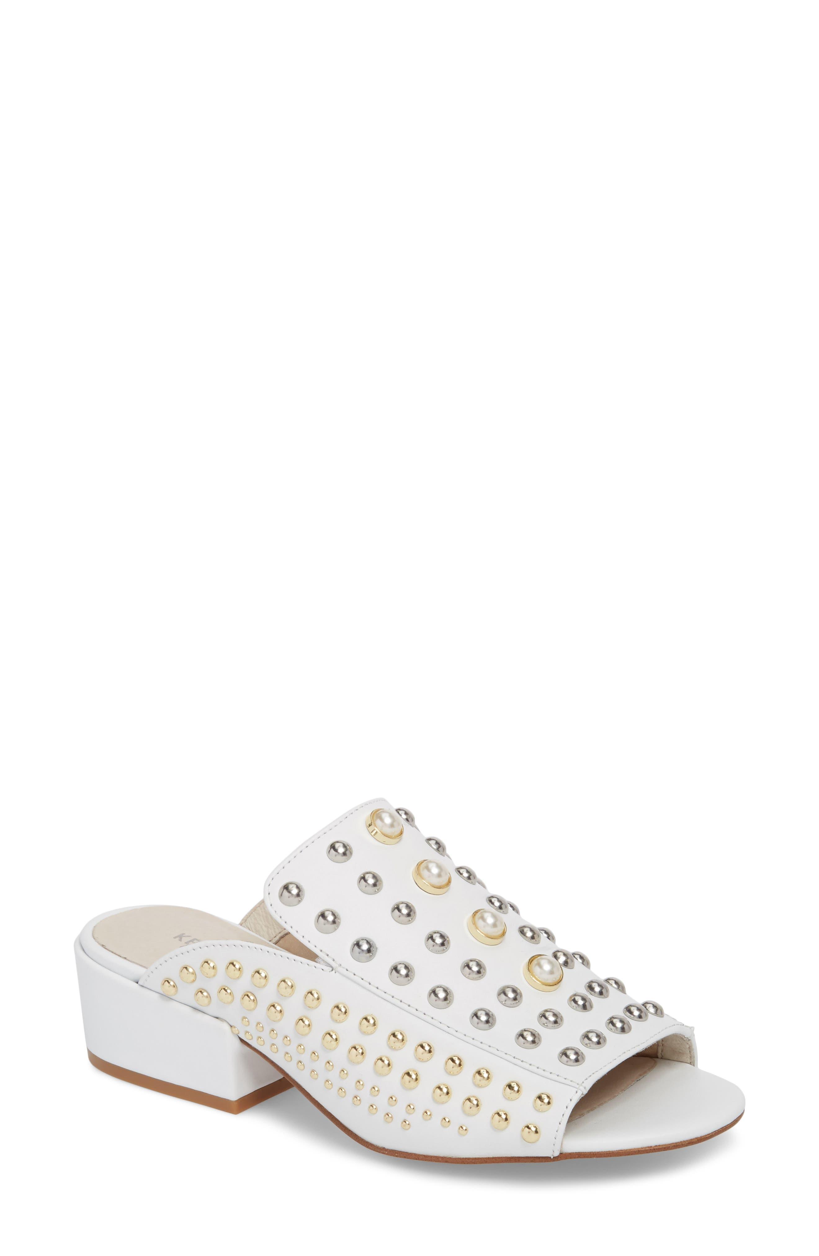 Farley Studded Slide Sandal,                         Main,                         color, White Leather