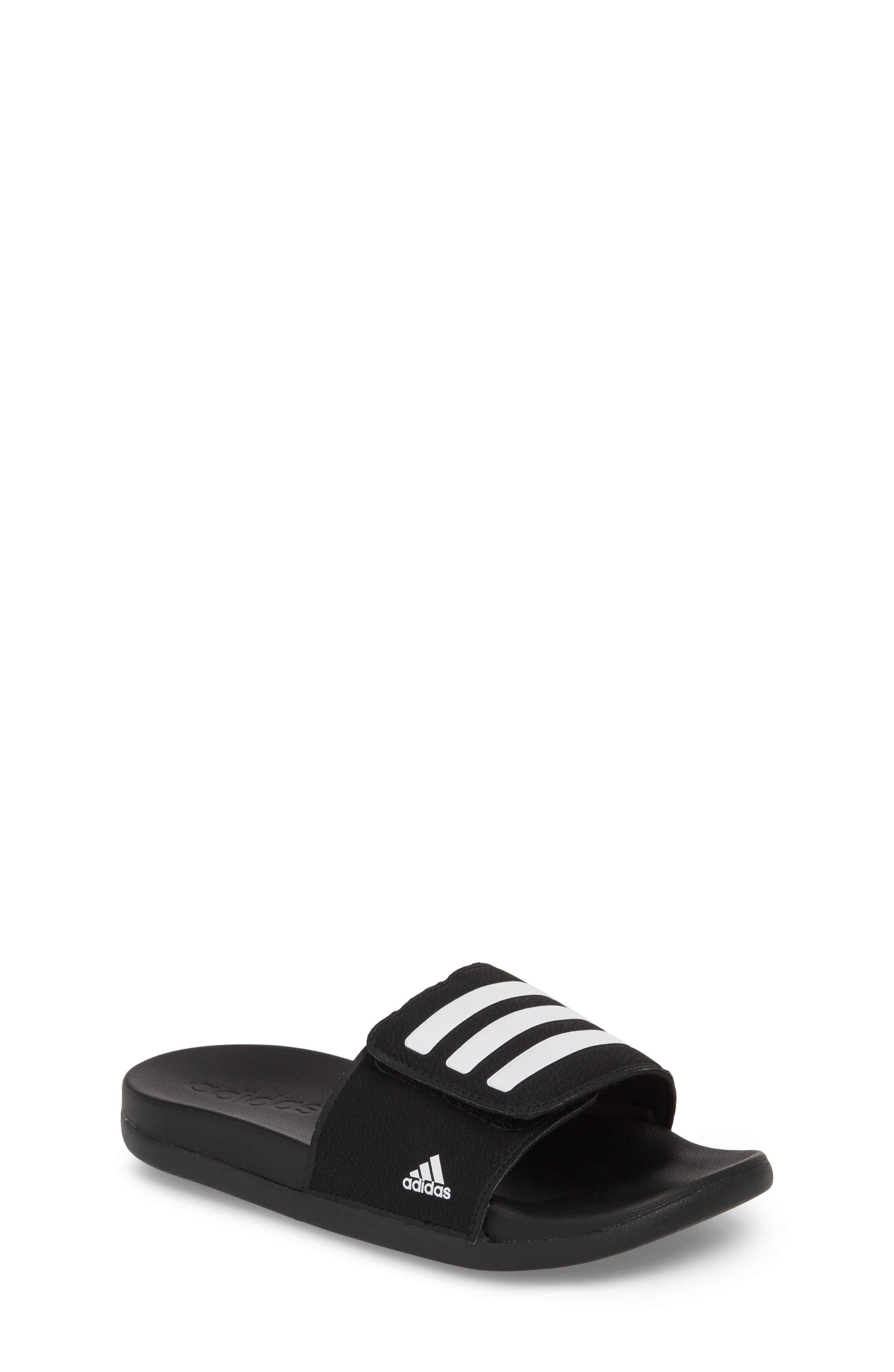 Adilette Slide Sandal,                         Main,                         color, Black/ White