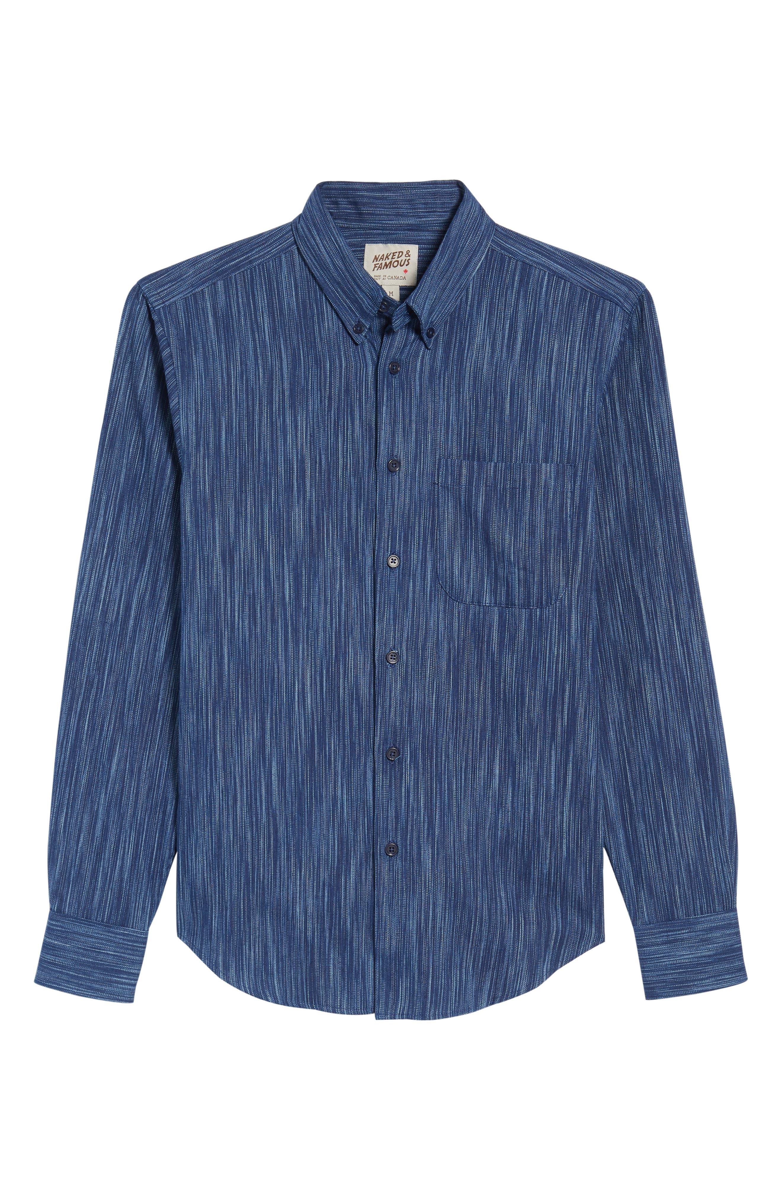 Indigo Tie Dye Rain Weave Shirt,                             Alternate thumbnail 6, color,                             Blue